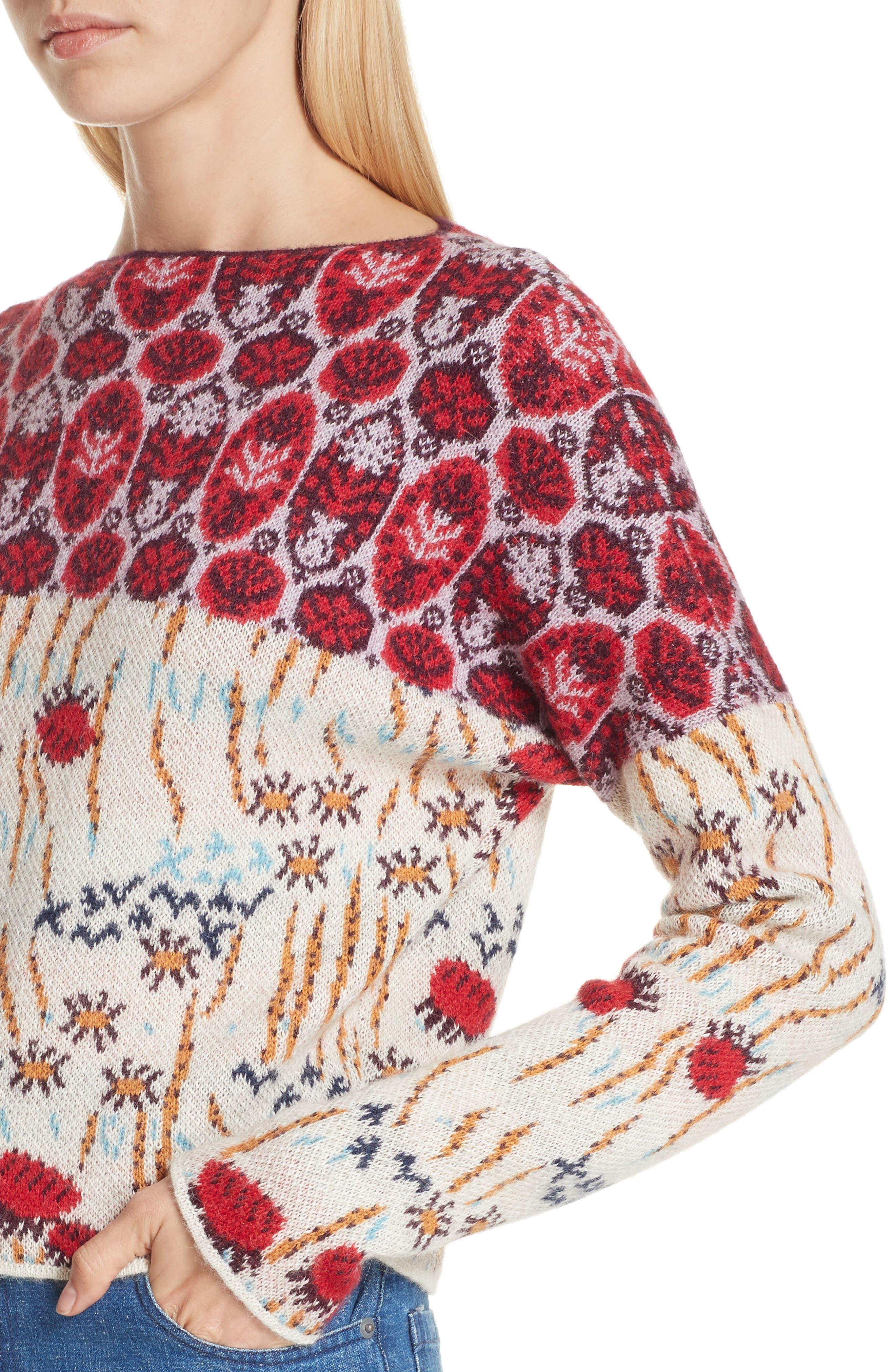 Adieu Jacquard Alpaca Sweater,                             Alternate thumbnail 4, color,                             WHITE