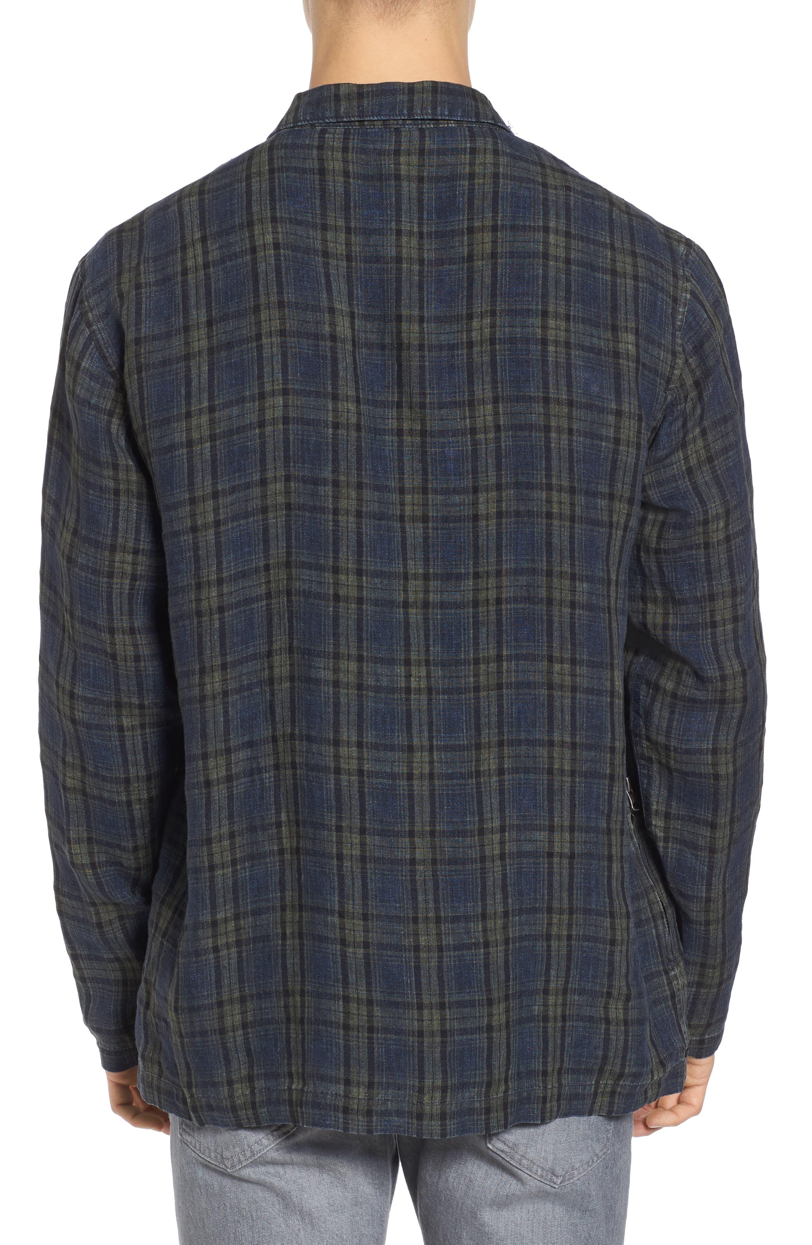 Plaid Zip Front Linen Shirt Jacket,                             Alternate thumbnail 2, color,                             315