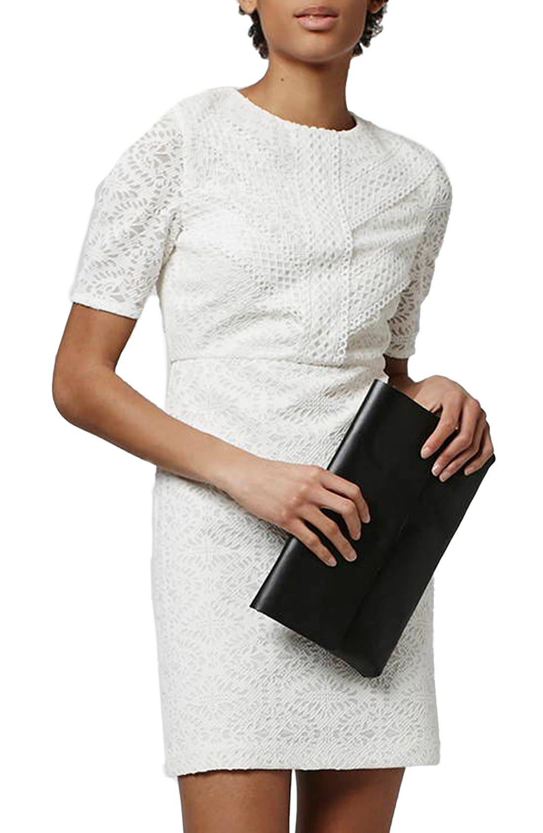 TOPSHOP,                             Laser Cut Lace Shift Dress,                             Alternate thumbnail 3, color,                             900