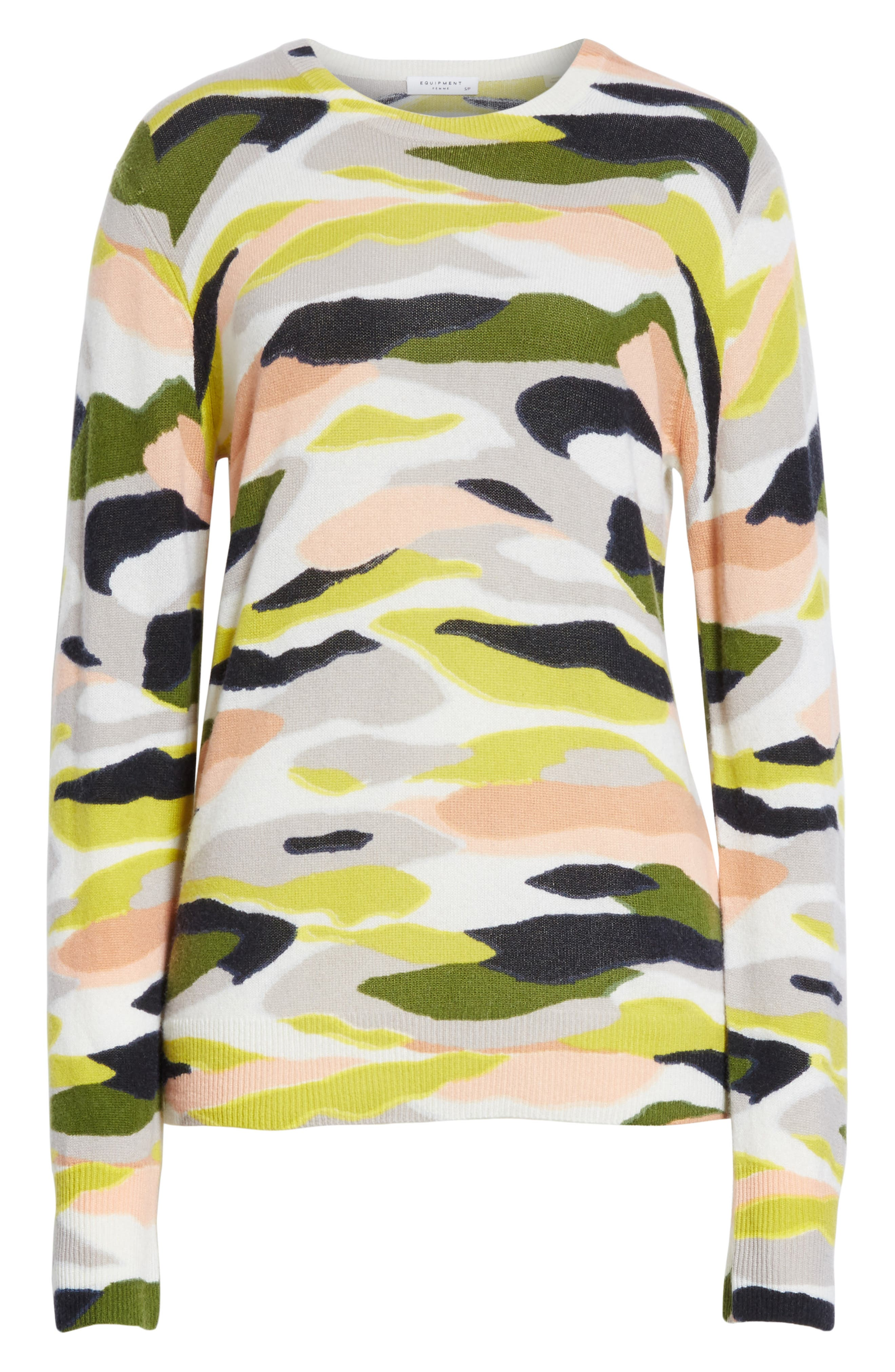 Shane Camo Print Cashmere Sweater,                             Alternate thumbnail 6, color,