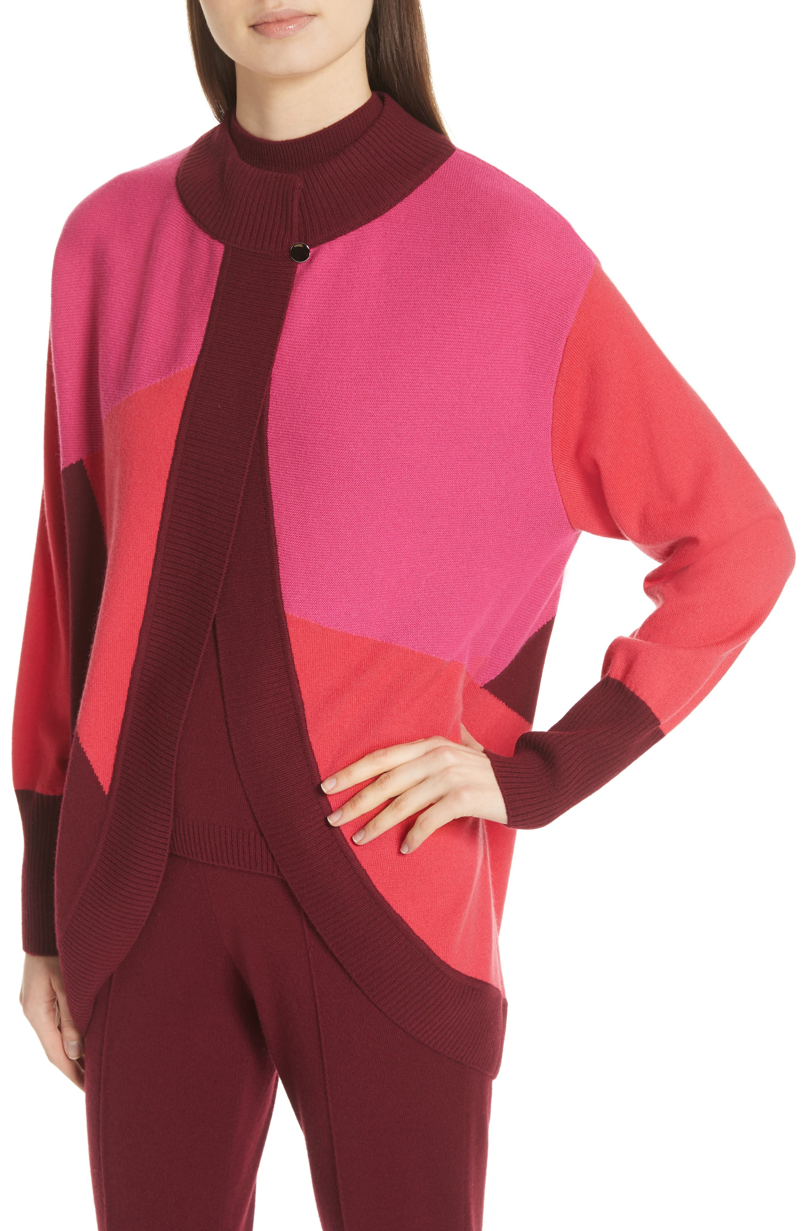 ST. JOHN COLLECTION,                             Colorblock Intarsia Knit Cardigan,                             Alternate thumbnail 4, color,                             650