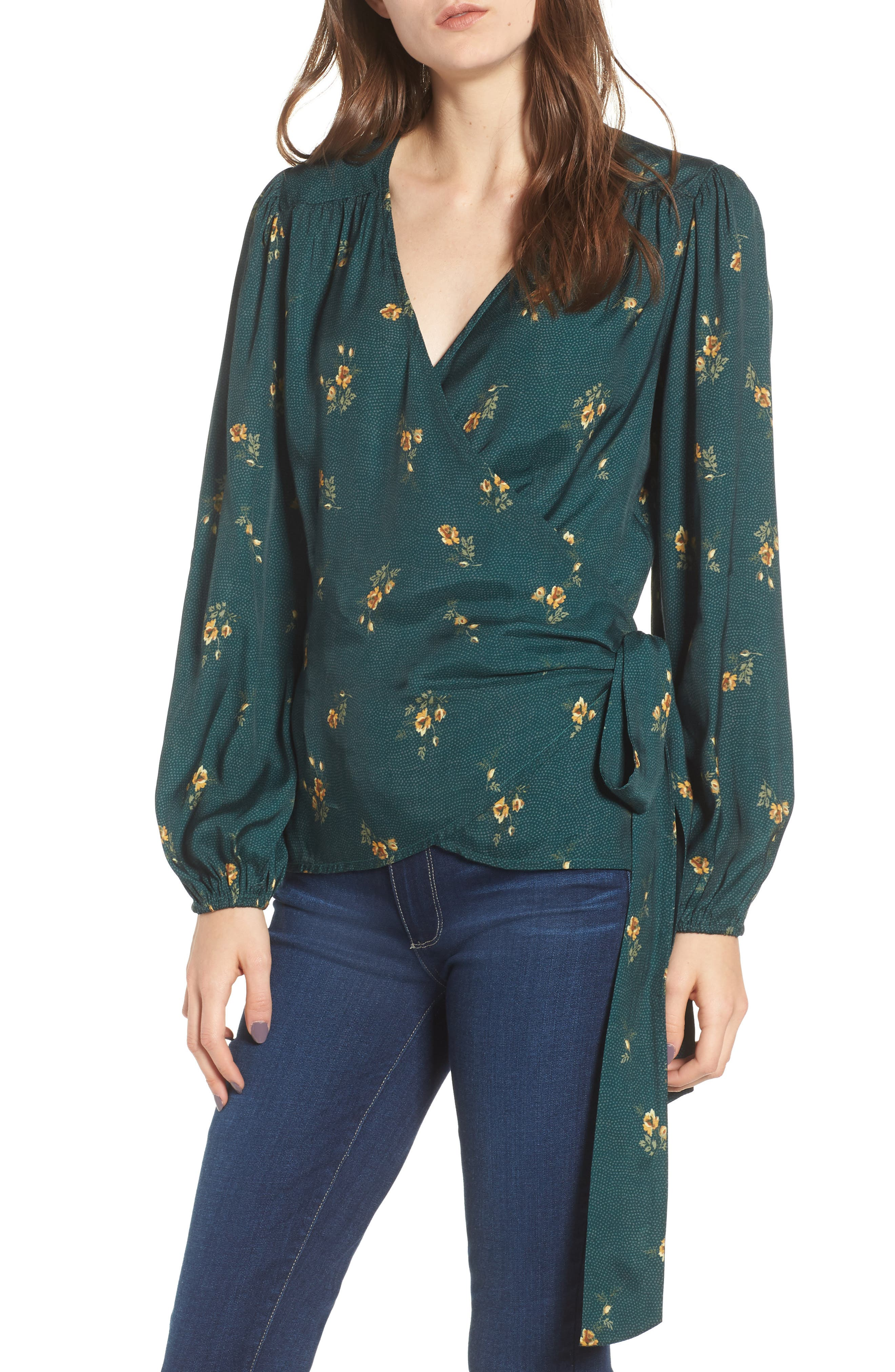 Floral Spot Wrap Top,                         Main,                         color, 301