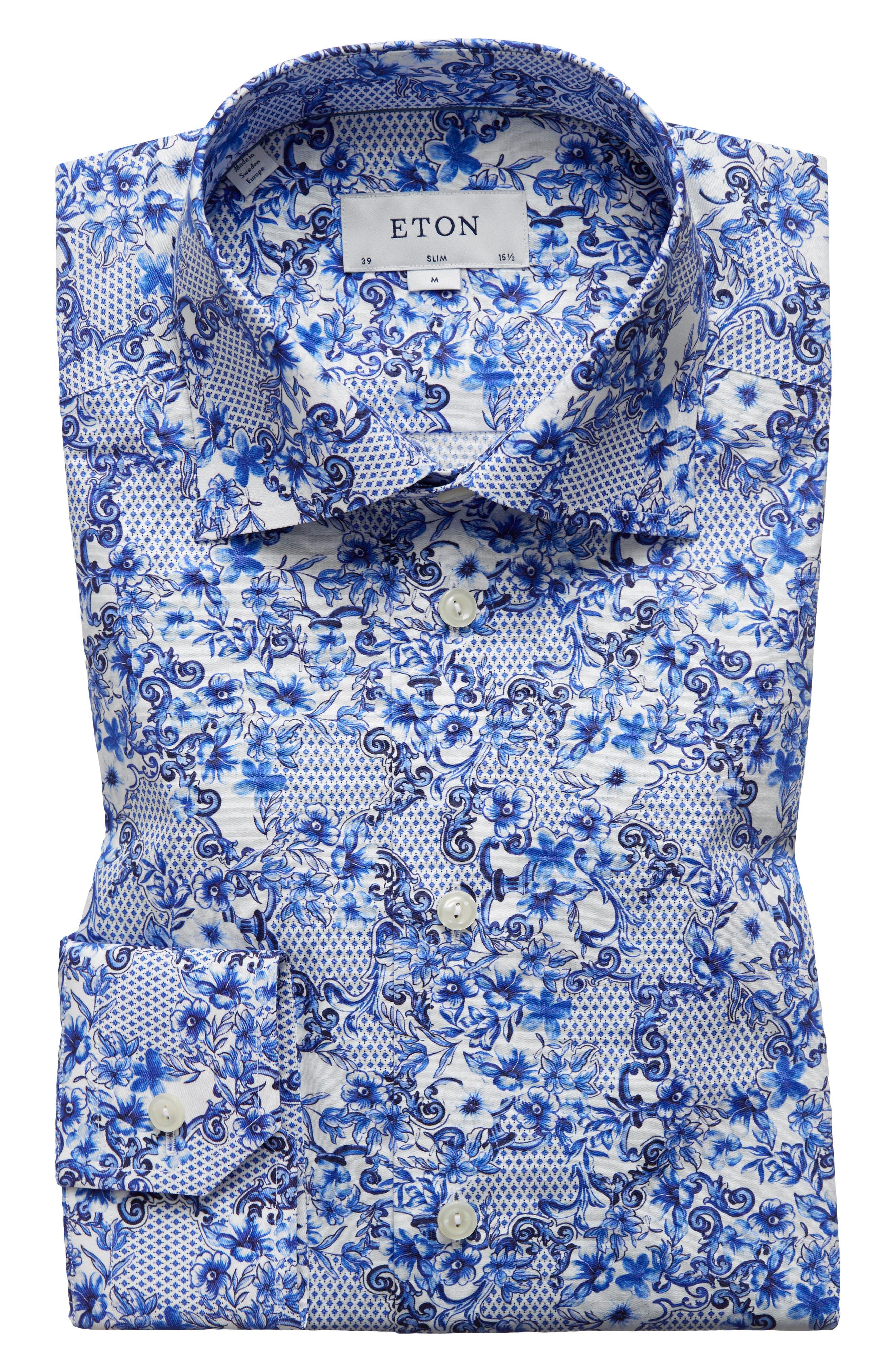 Slim Fit Floral Dress Shirt,                             Main thumbnail 1, color,                             400
