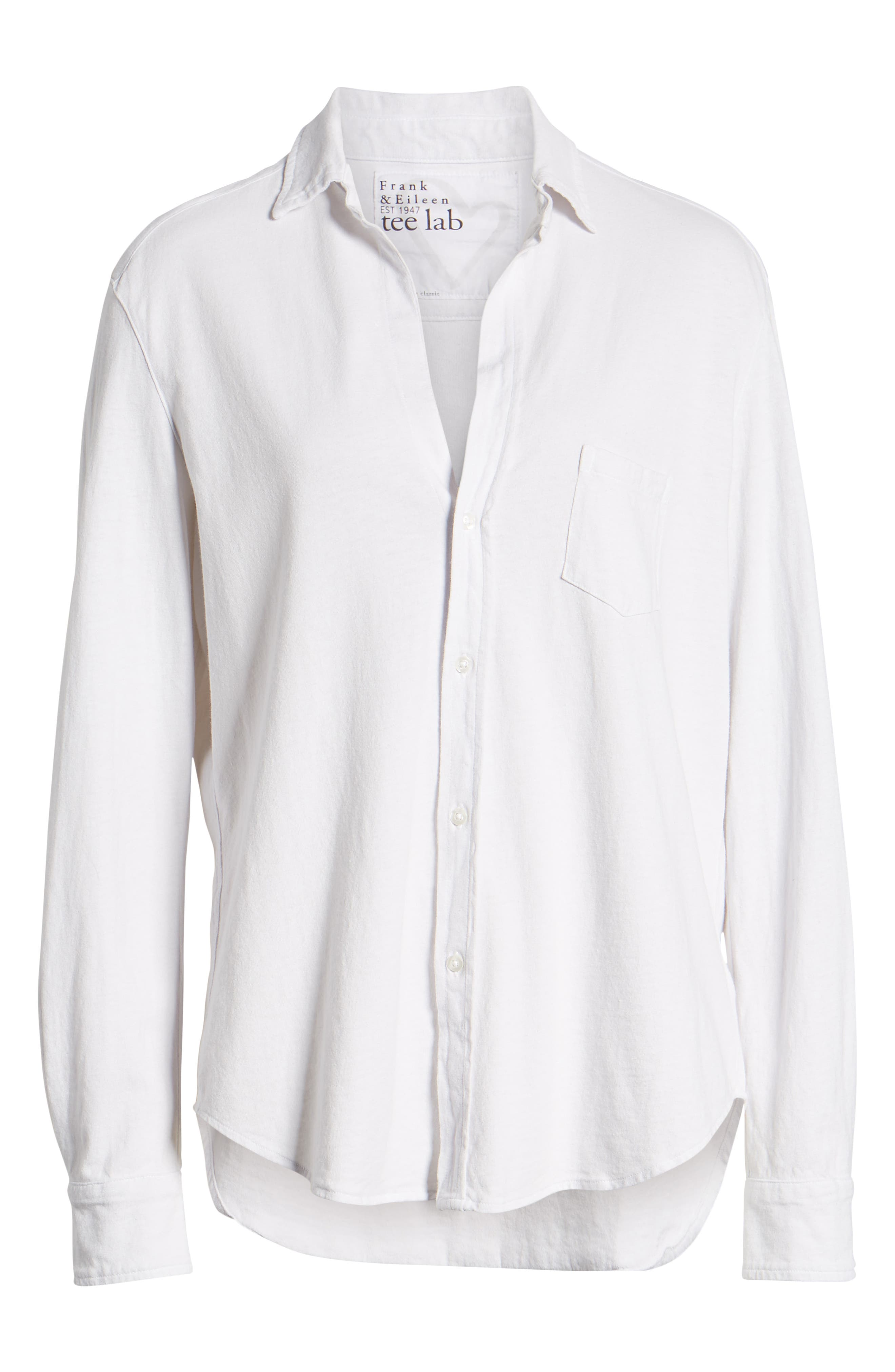 FRANK & EILEEN TEE LAB,                             Eileen Jersey Button Front Shirt,                             Alternate thumbnail 7, color,                             DIRTY WHITE