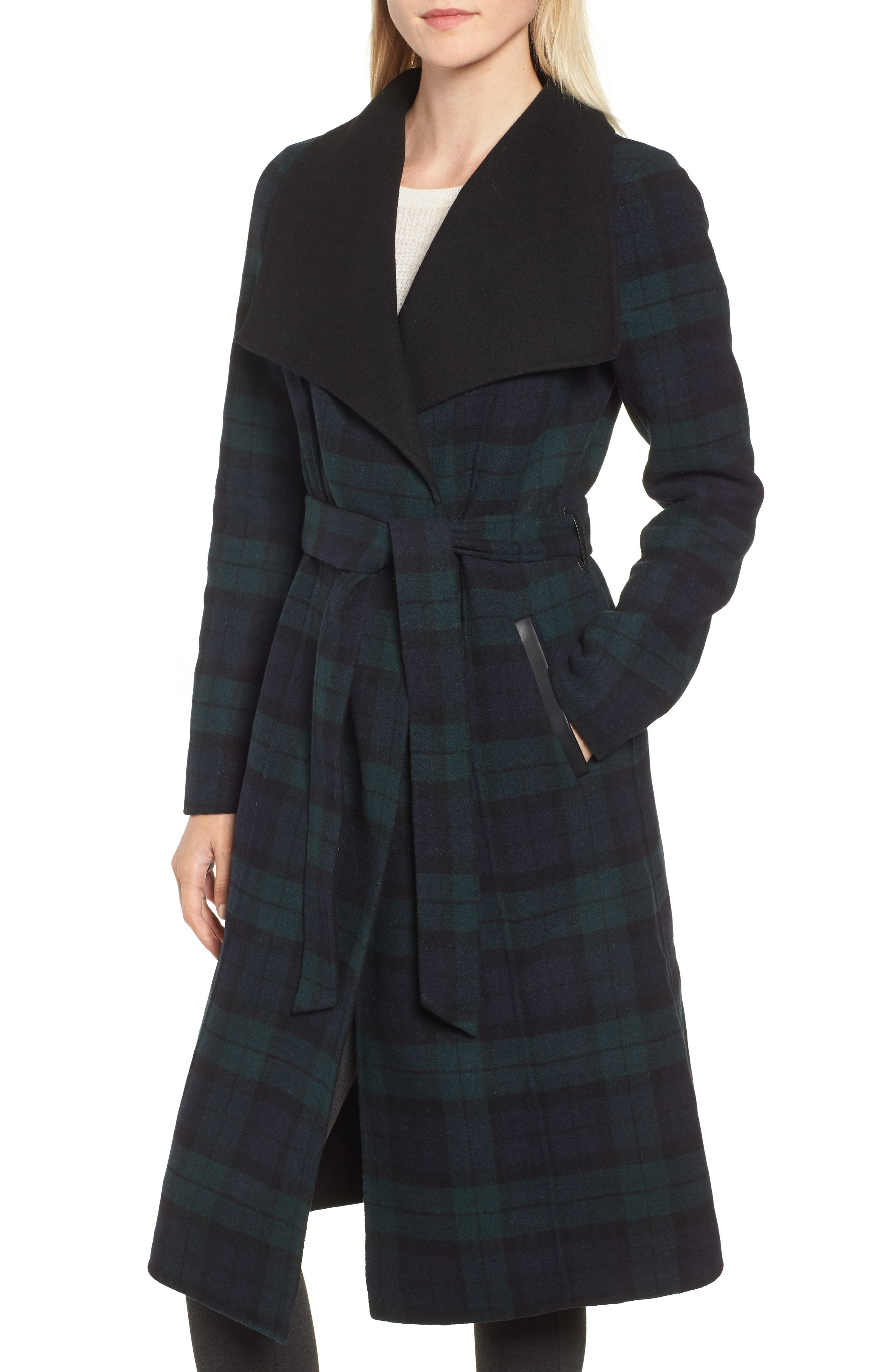 MACKAGE,                             Double Face Wool Leather Belted Coat,                             Alternate thumbnail 4, color,                             411
