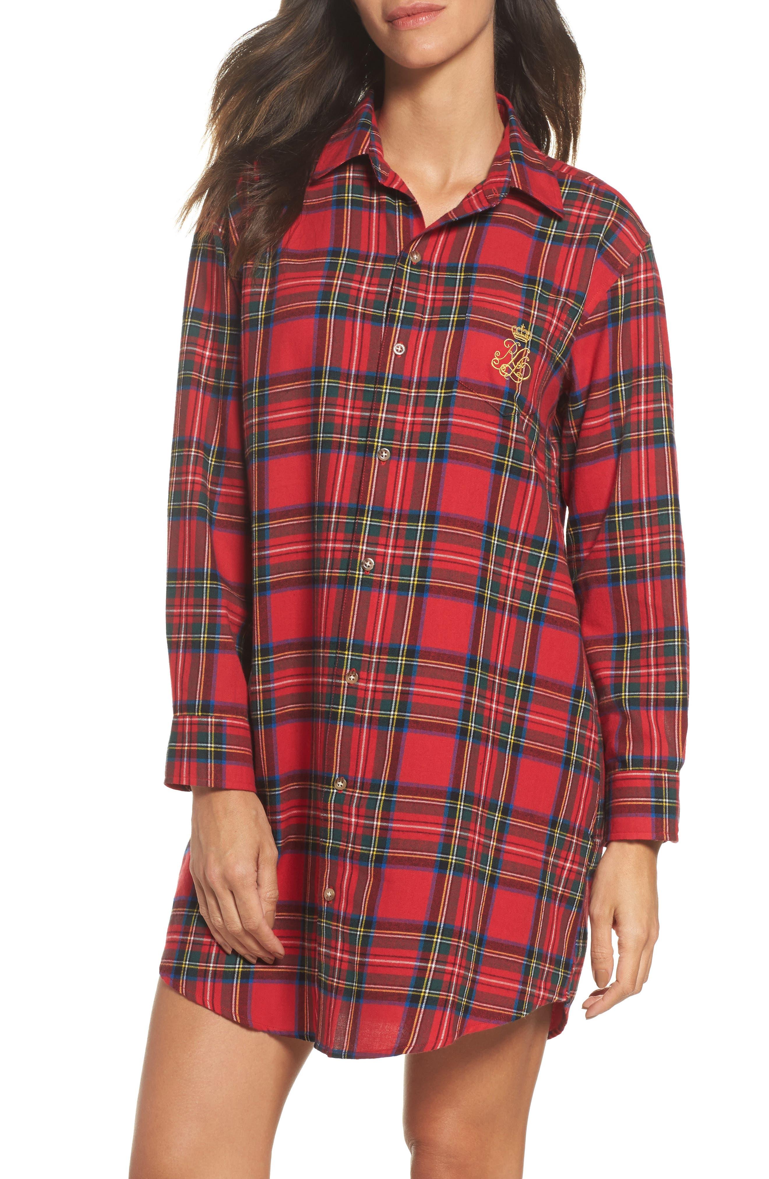 Flannel Sleep Shirt,                             Main thumbnail 2, color,
