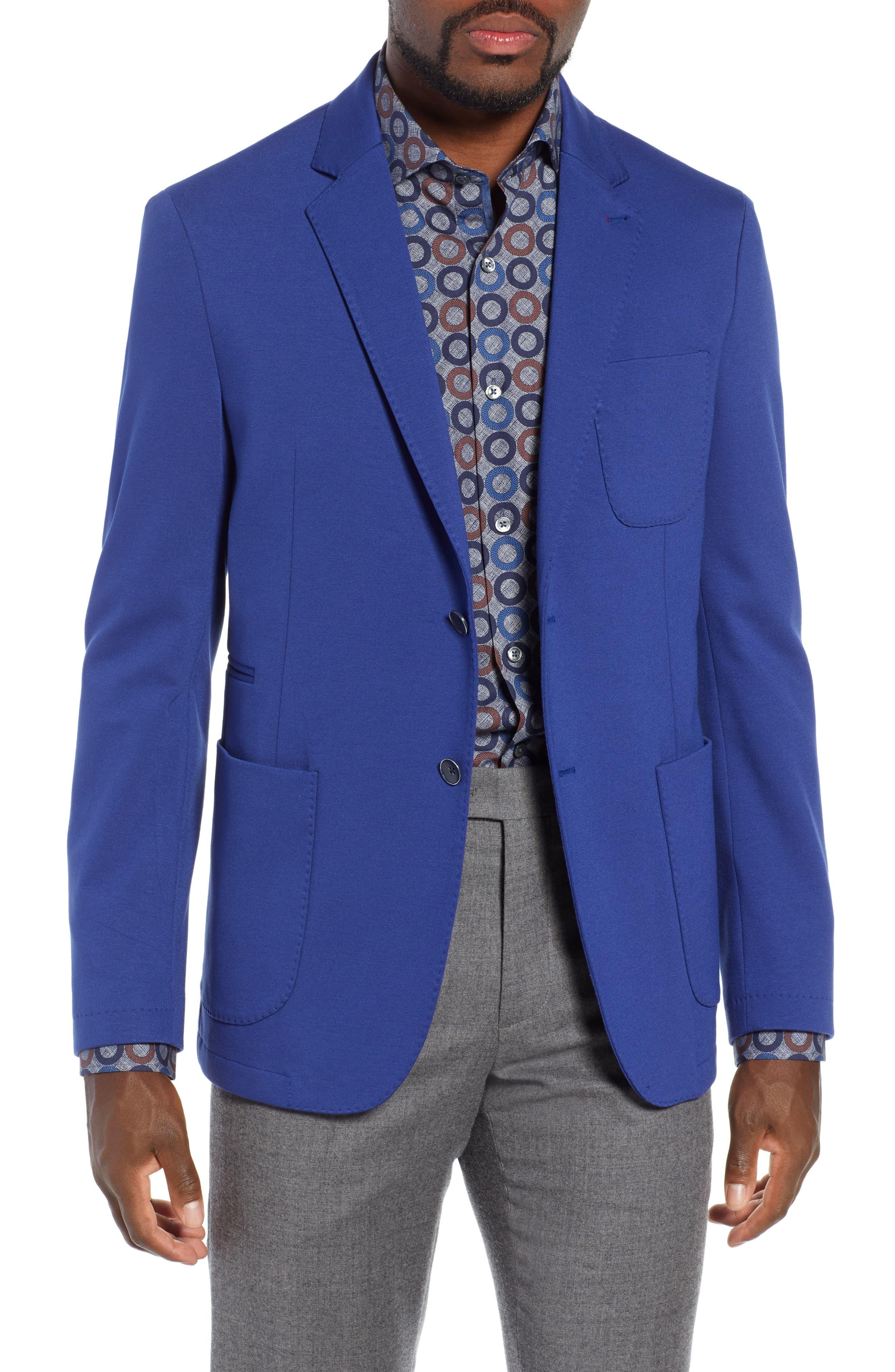 BUGATCHI Solid Sport Coat in Night Blue