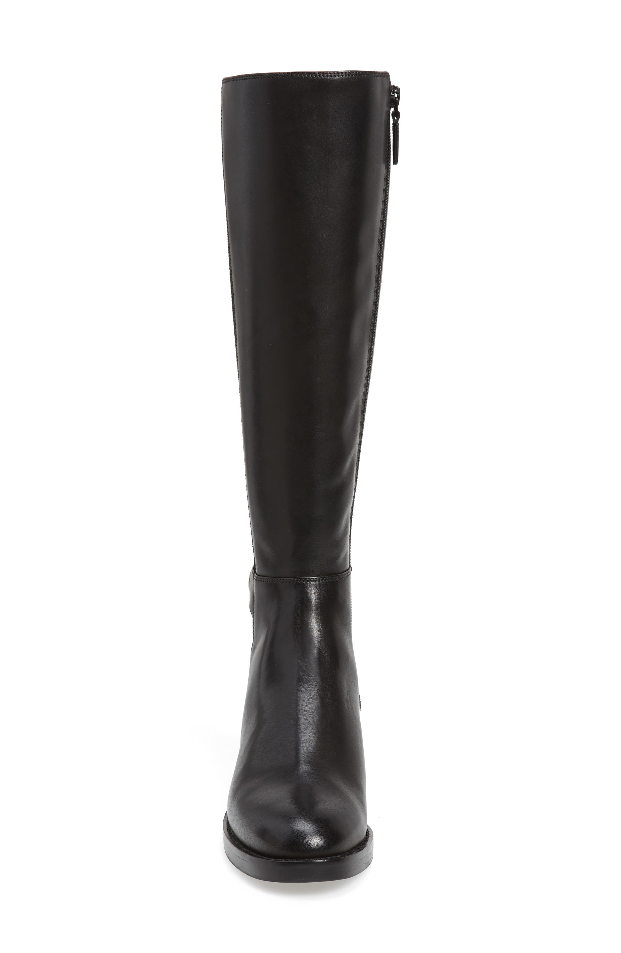 Parker Grand Stretch Knee High Boot,                             Alternate thumbnail 4, color,                             BLACK LEATHER