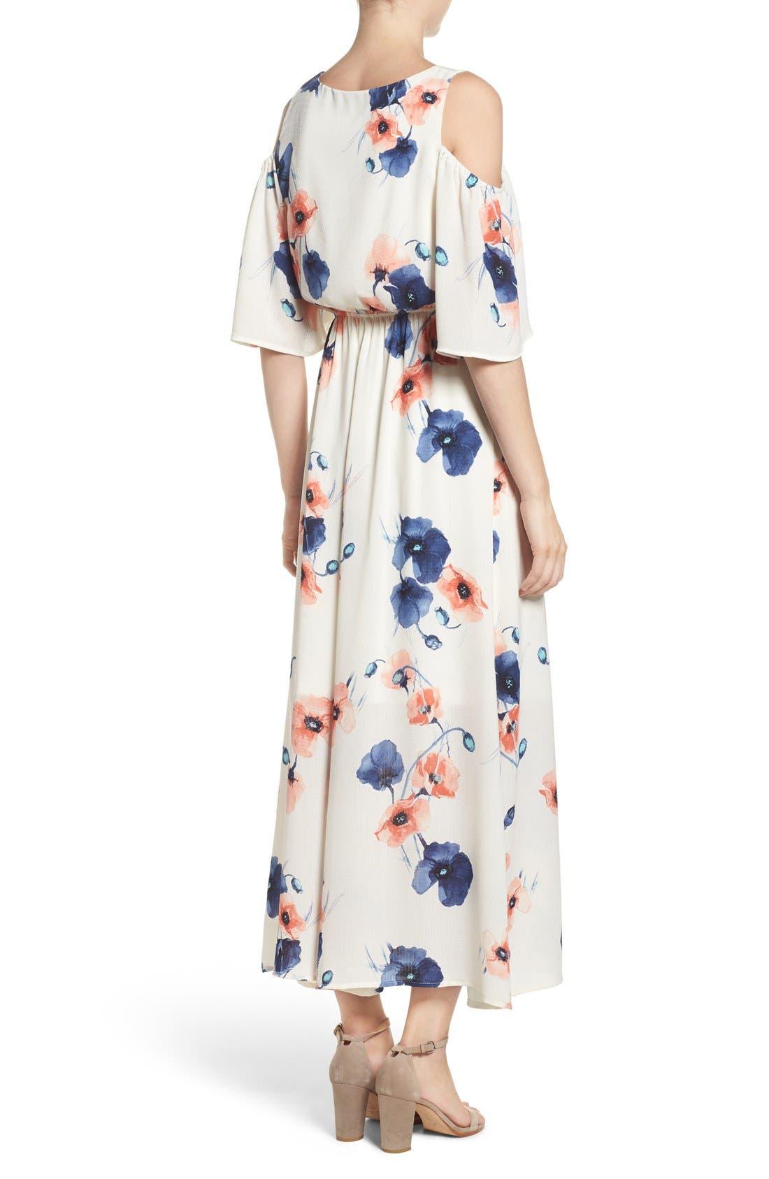 Cold Shoulder Maxi Dress,                             Alternate thumbnail 7, color,                             PENSY WHITE