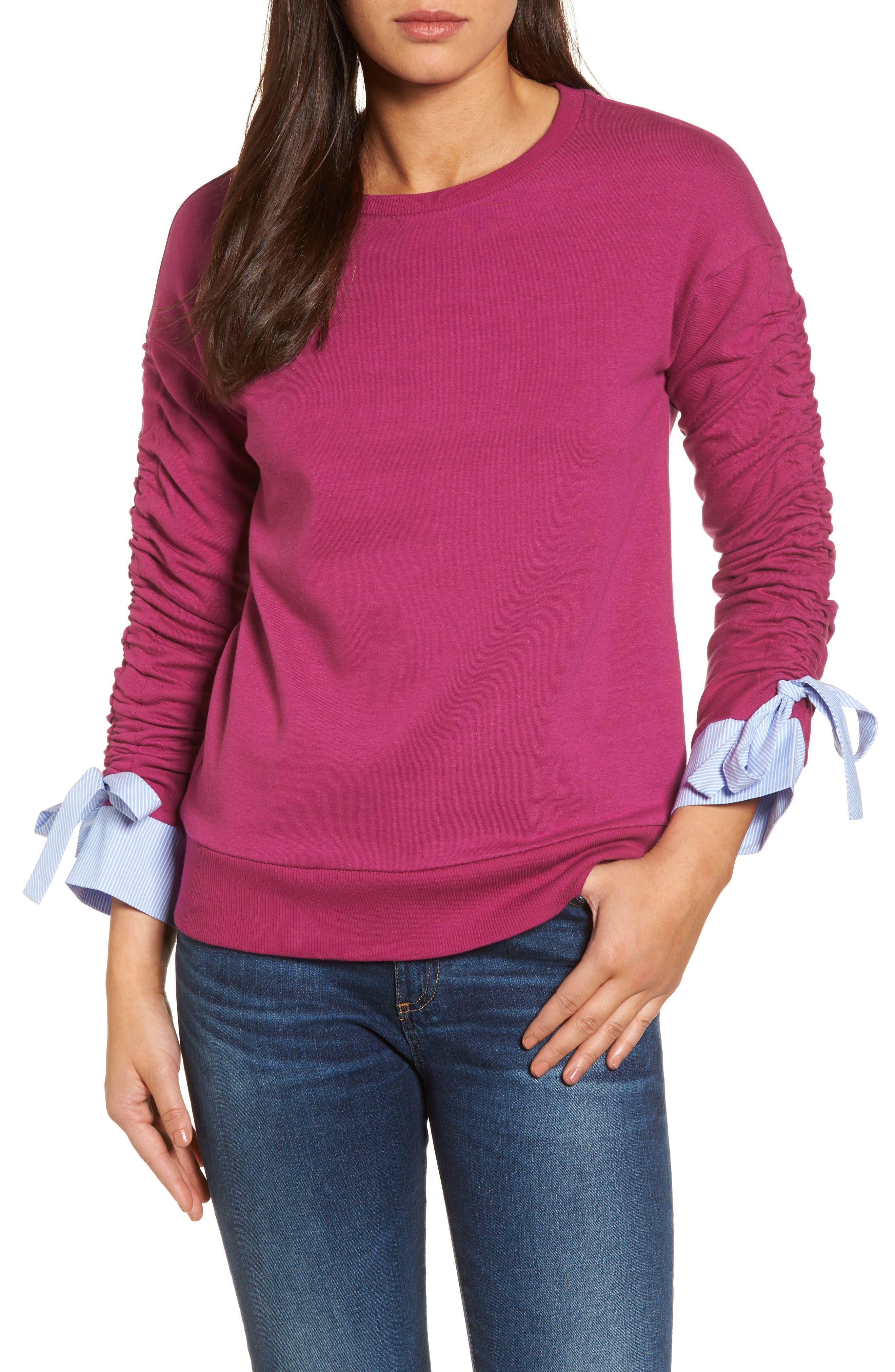 Ruched Sleeve Poplin Trim Sweatshirt,                             Main thumbnail 4, color,