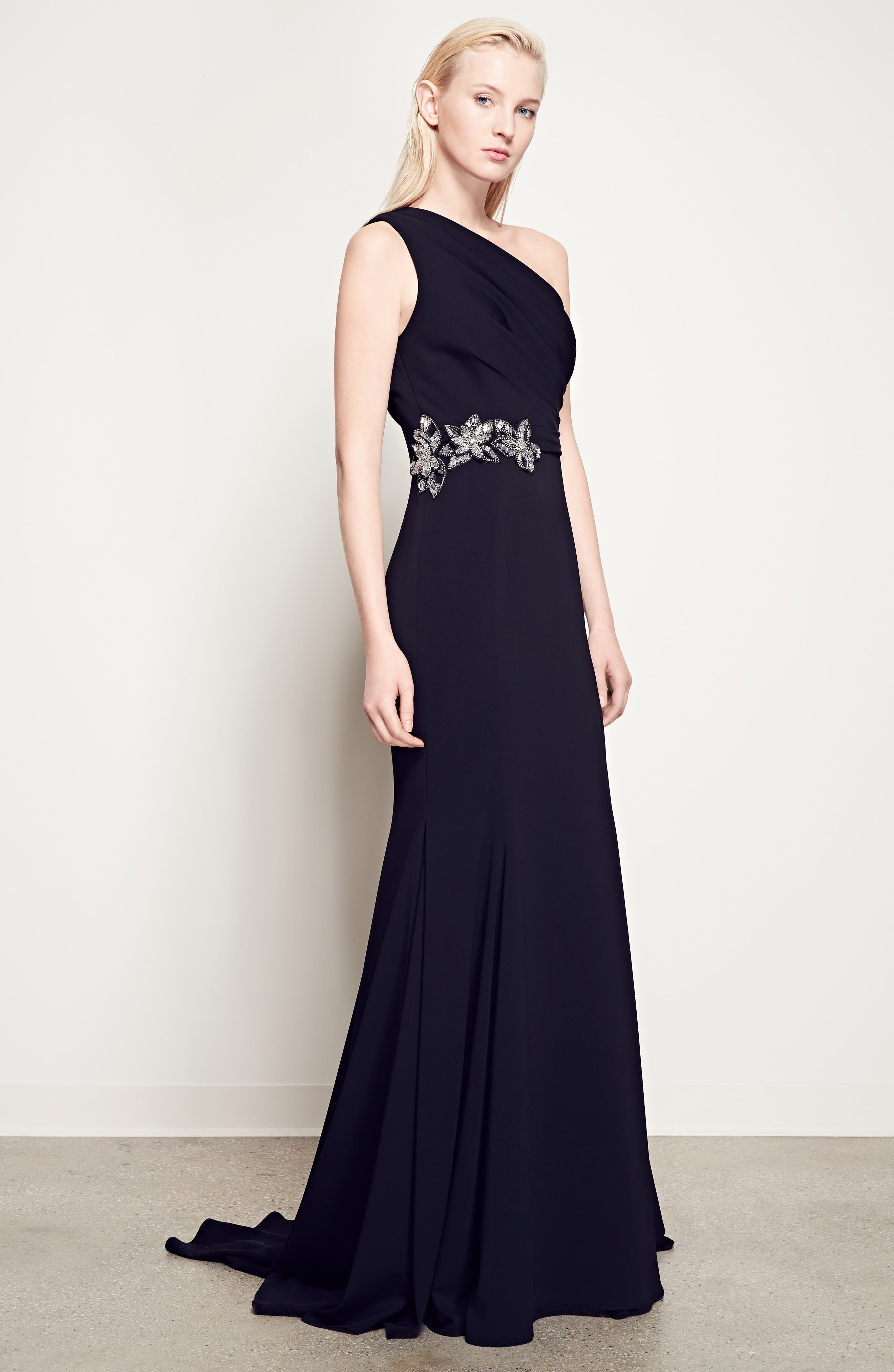 Badgley Mischka Couture Odessa Embellished One-Shoulder Gown,                             Main thumbnail 1, color,                             001