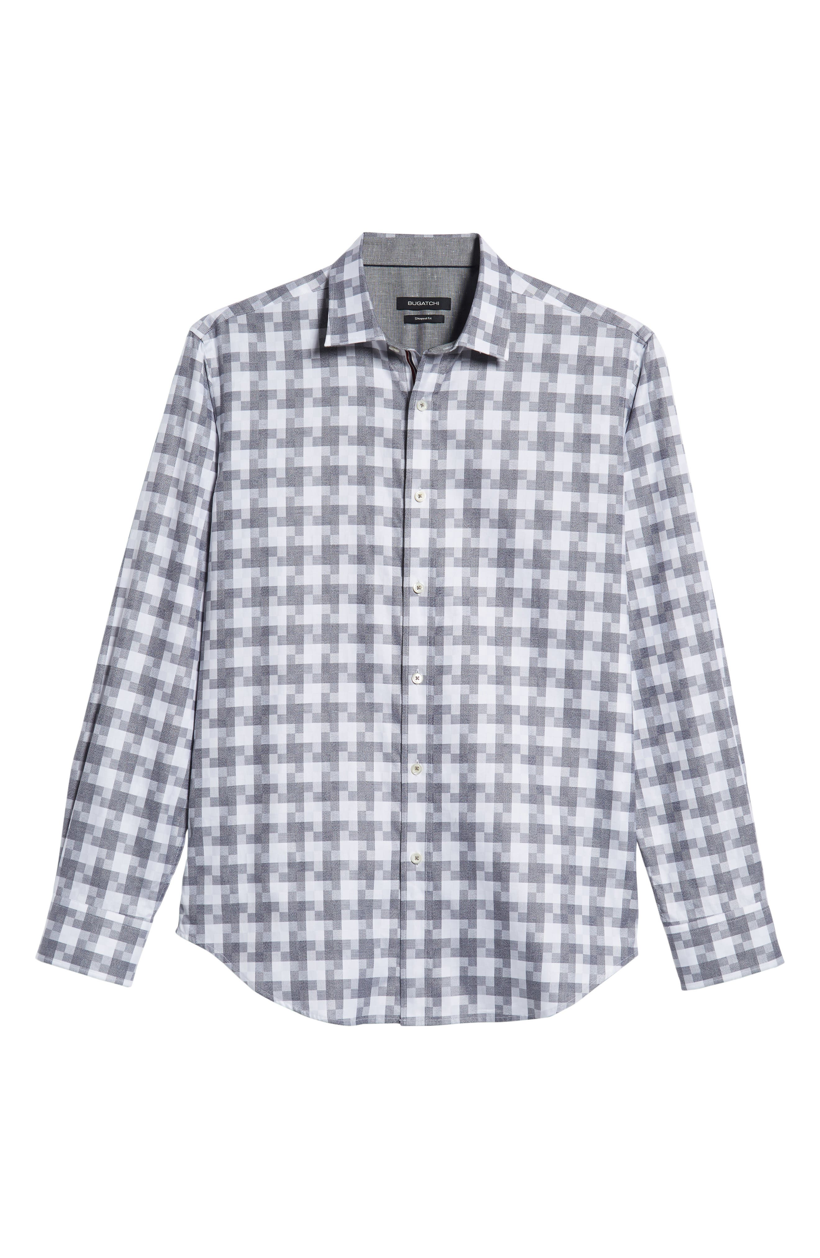 Shaped Fit Sport Shirt,                             Alternate thumbnail 5, color,                             PLATINUM
