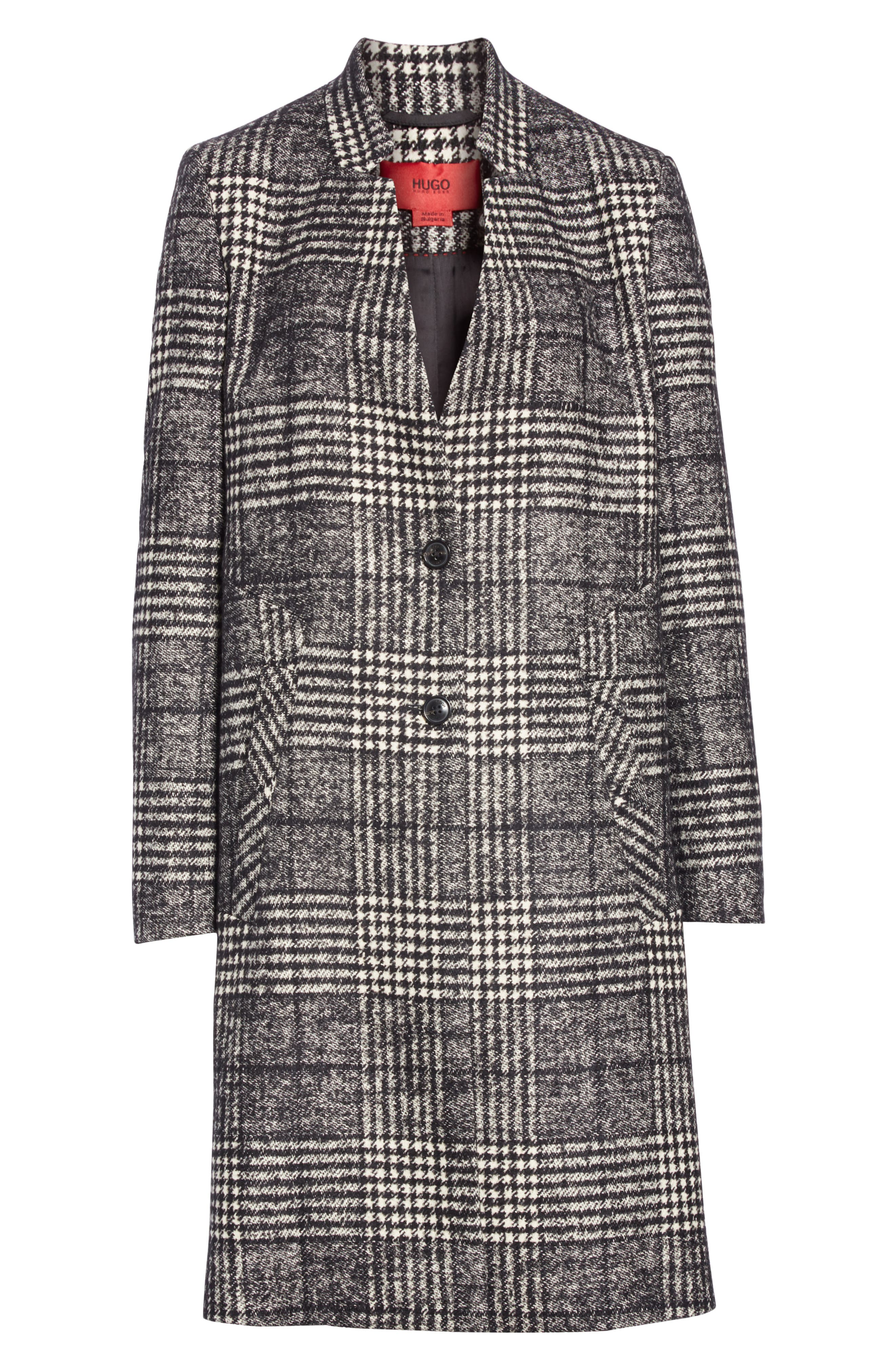 Magrete Bold Check Stretch Cotton Wool Coat,                             Alternate thumbnail 5, color,                             BLACK/ WHITE