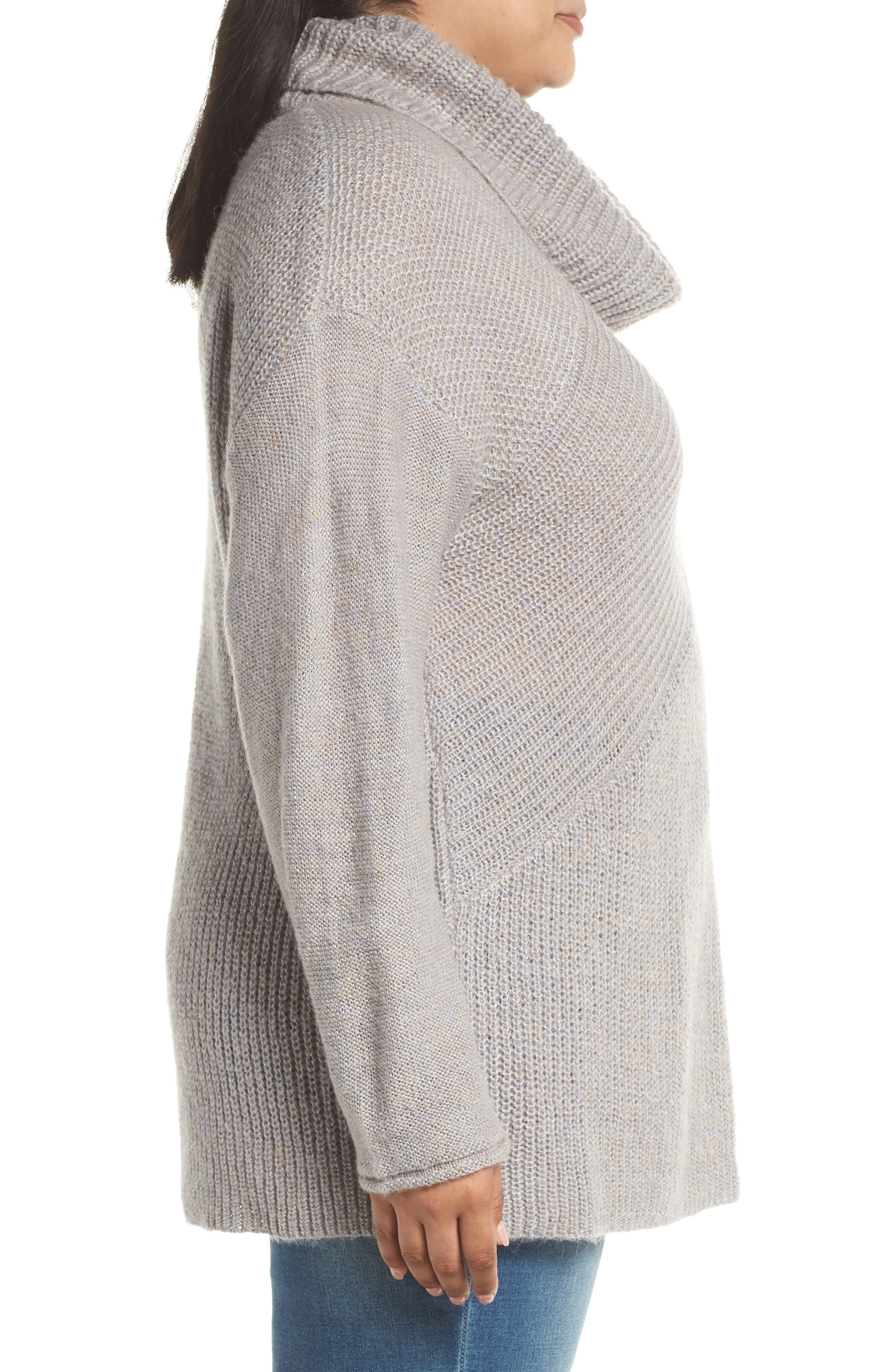 Mix Stitch Wool Blend Funnel Neck Sweater,                             Alternate thumbnail 3, color,                             GREY HEATHER