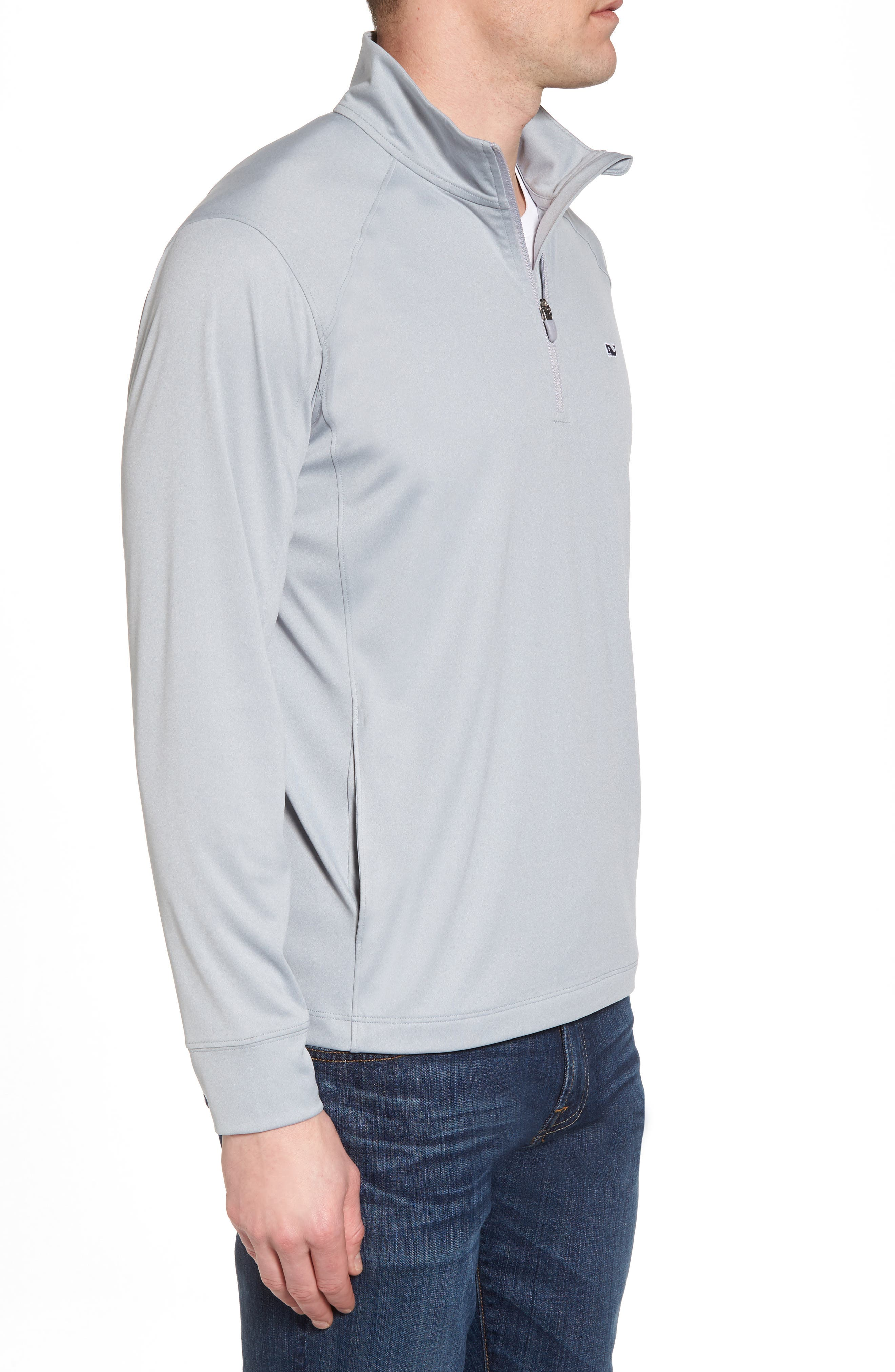 Heathered Quarter Zip Pullover,                             Alternate thumbnail 3, color,                             034
