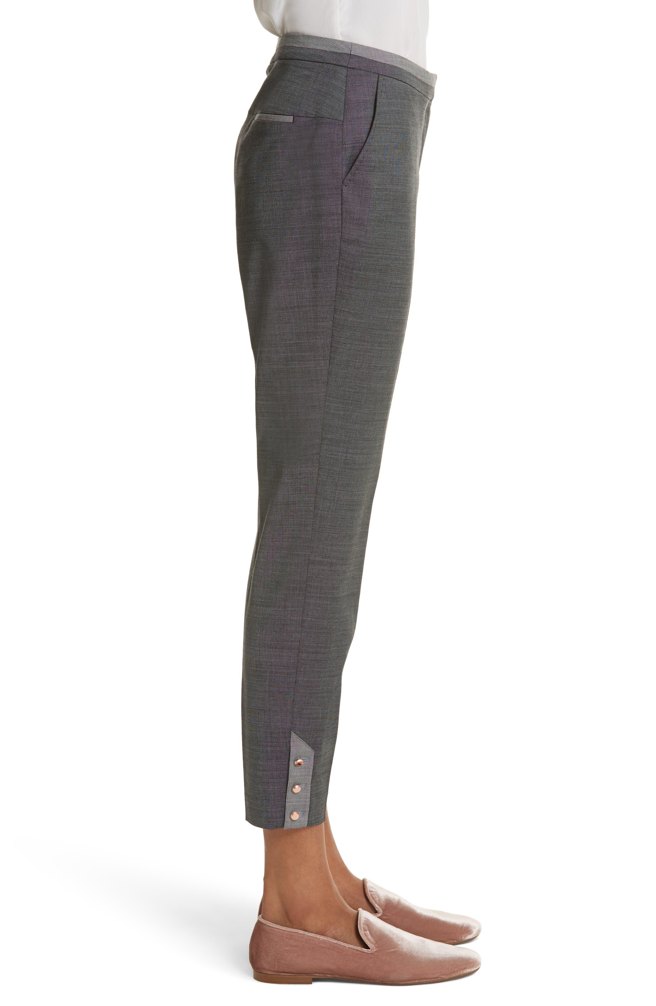 Contrast Trim Slim Leg Trousers,                             Alternate thumbnail 3, color,                             030