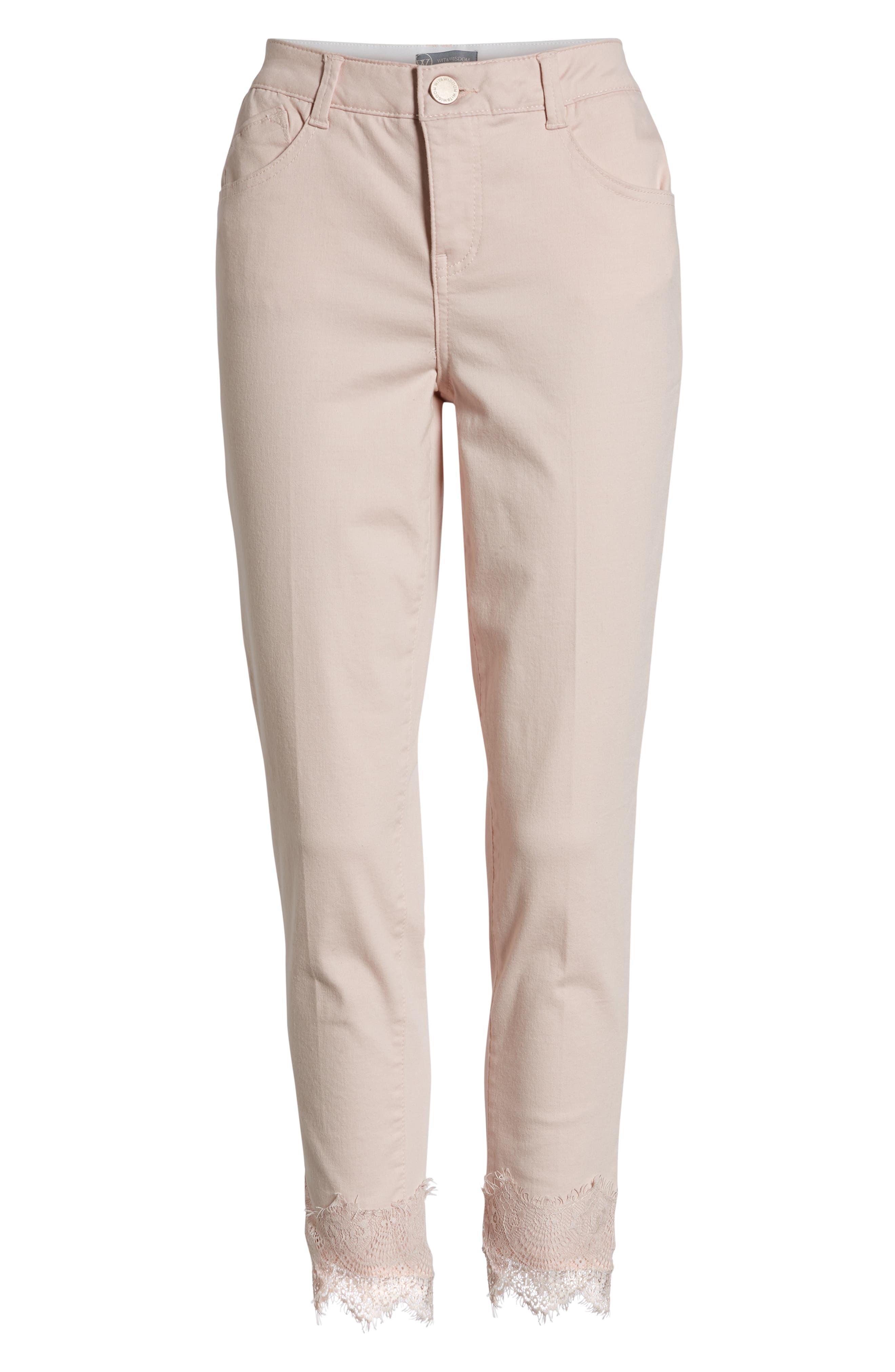 WIT & WISDOM,                             Ab-Solution Lace Hem Ankle Skinny Pants,                             Alternate thumbnail 7, color,                             WISPER PINK