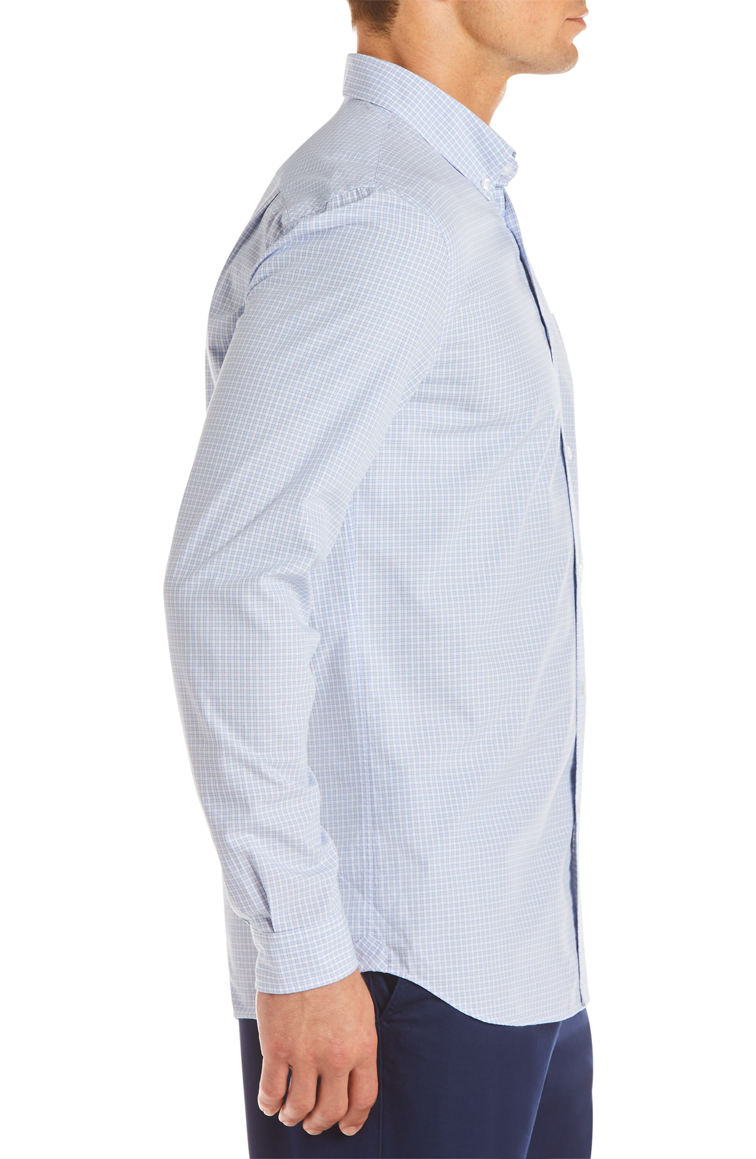 Regular Fit Check Sport Shirt,                             Alternate thumbnail 3, color,                             IODINE/ WHITE