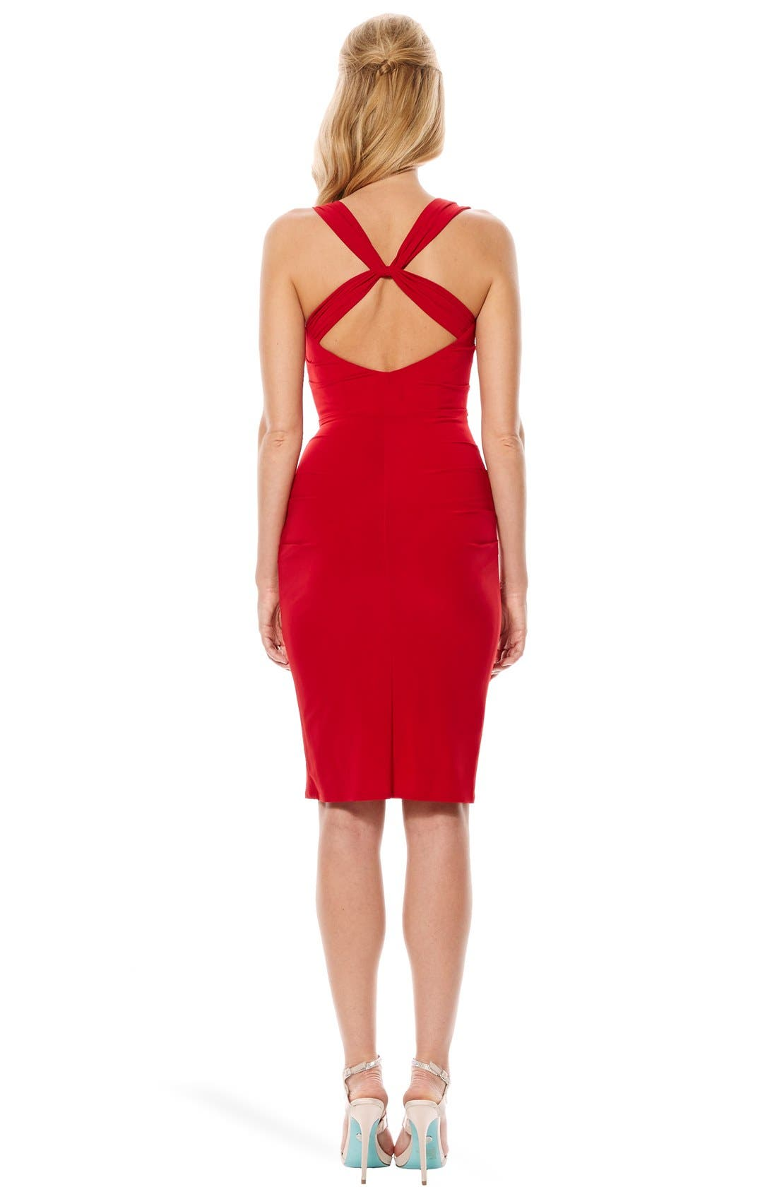 Twist Back Jersey Body-Con Dress,                             Alternate thumbnail 13, color,