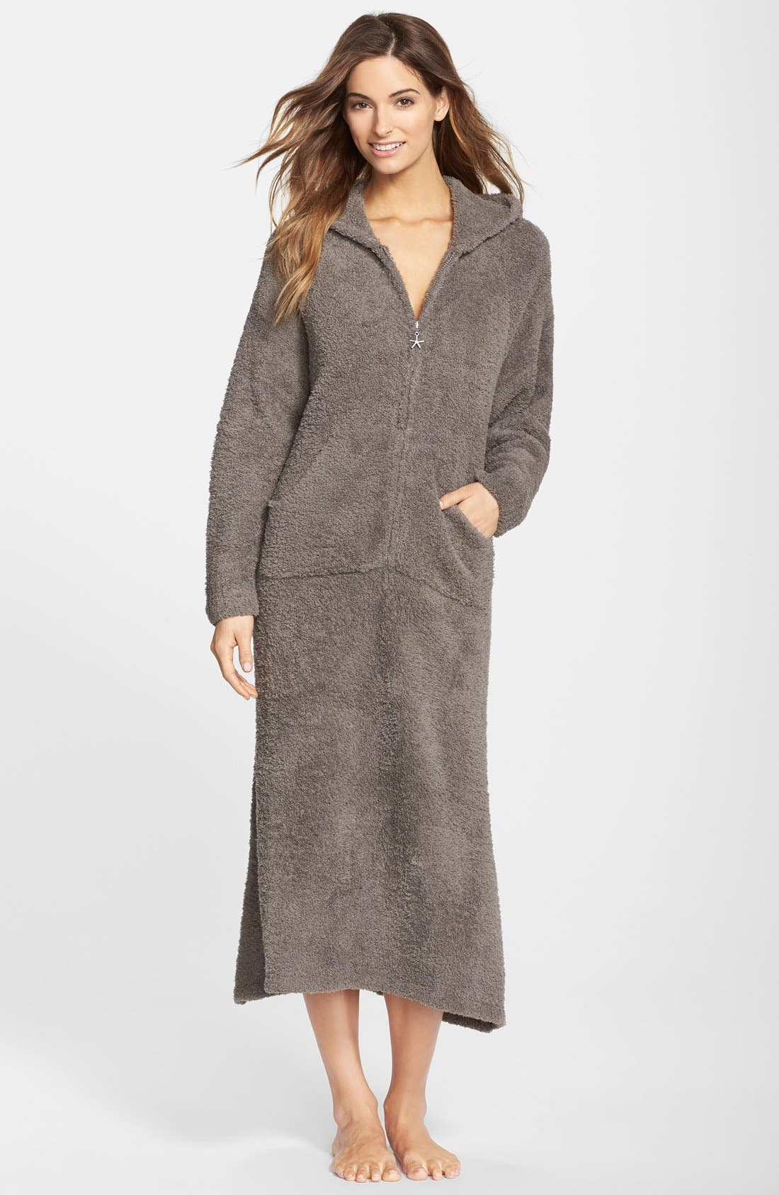CozyChic<sup>®</sup> Hooded Zip Robe,                             Main thumbnail 1, color,                             CHARCOAL