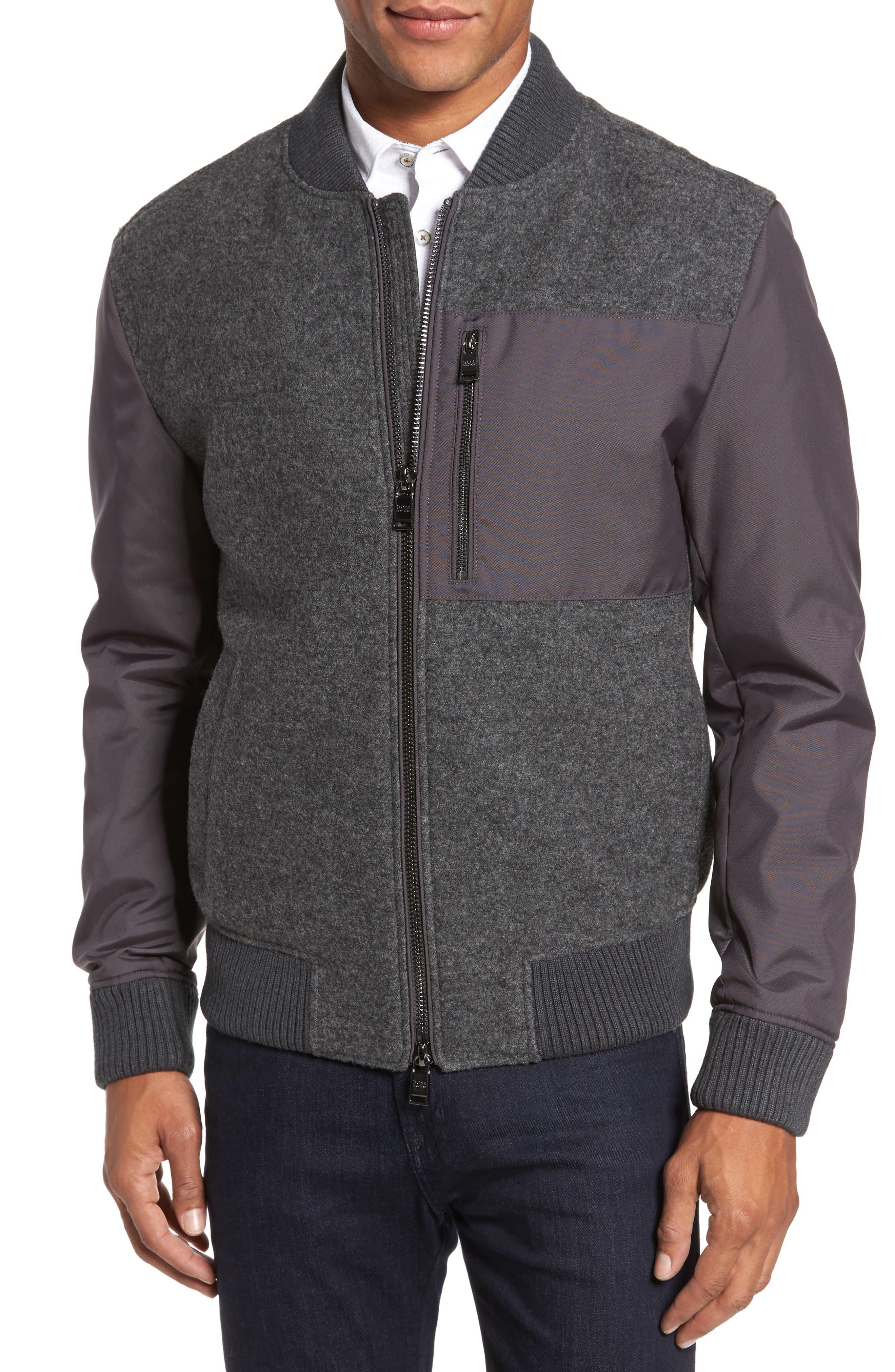 Chaun Mixed Media Bomber Jacket,                         Main,                         color,