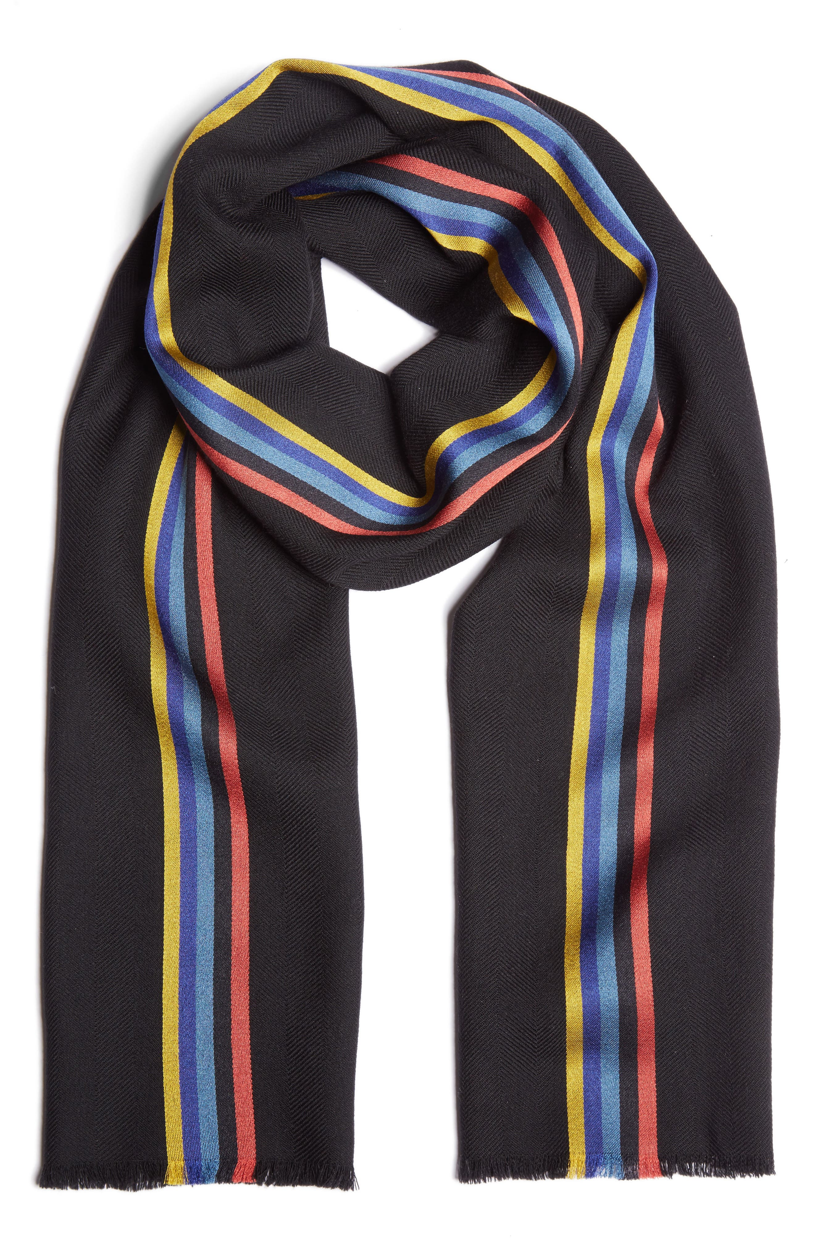 Central Stripe Wool & Silk Scarf,                             Main thumbnail 1, color,                             001