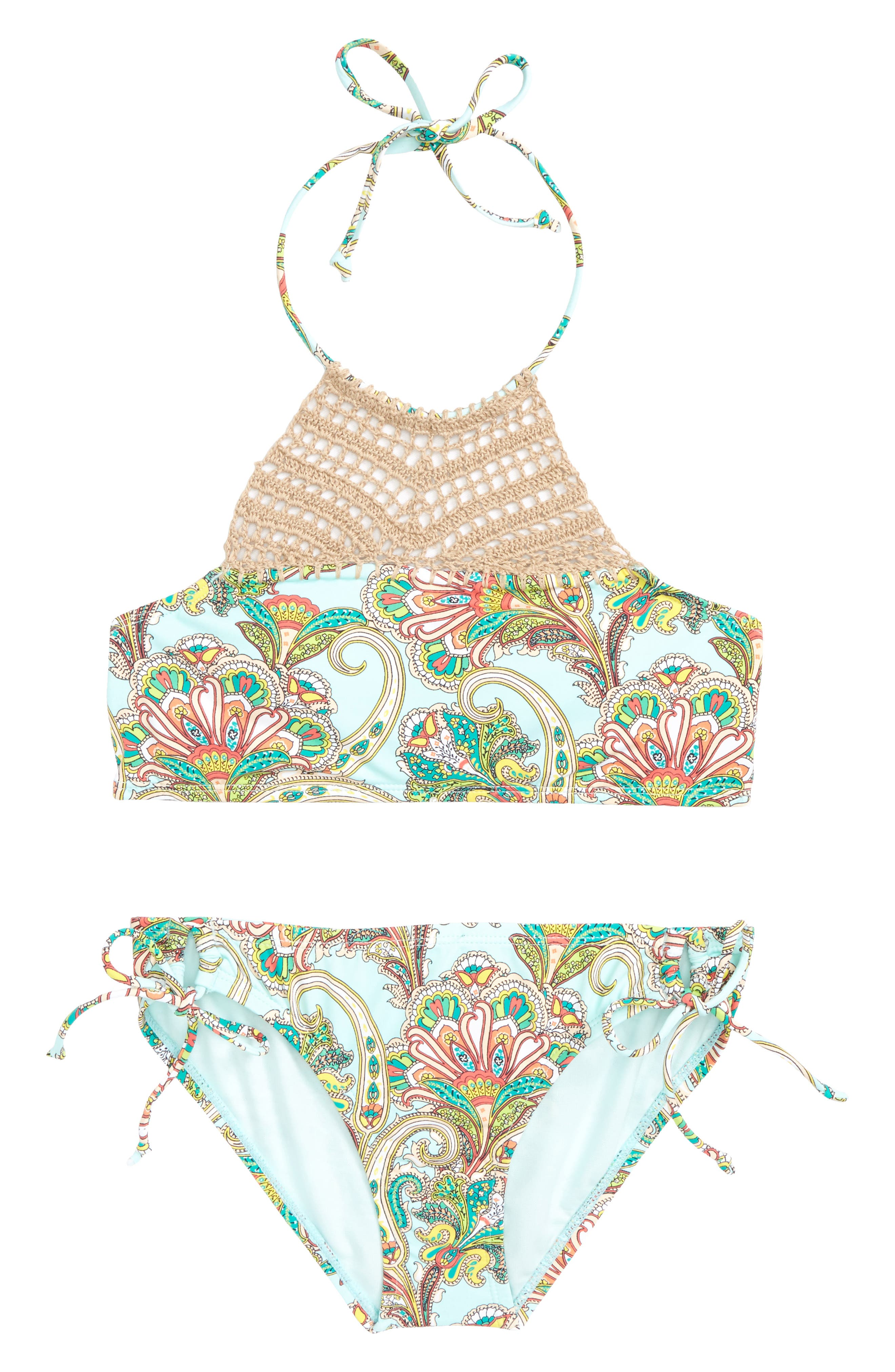 A Whole New Whirl Paisley Two-Piece Swimsuit,                             Main thumbnail 1, color,                             400