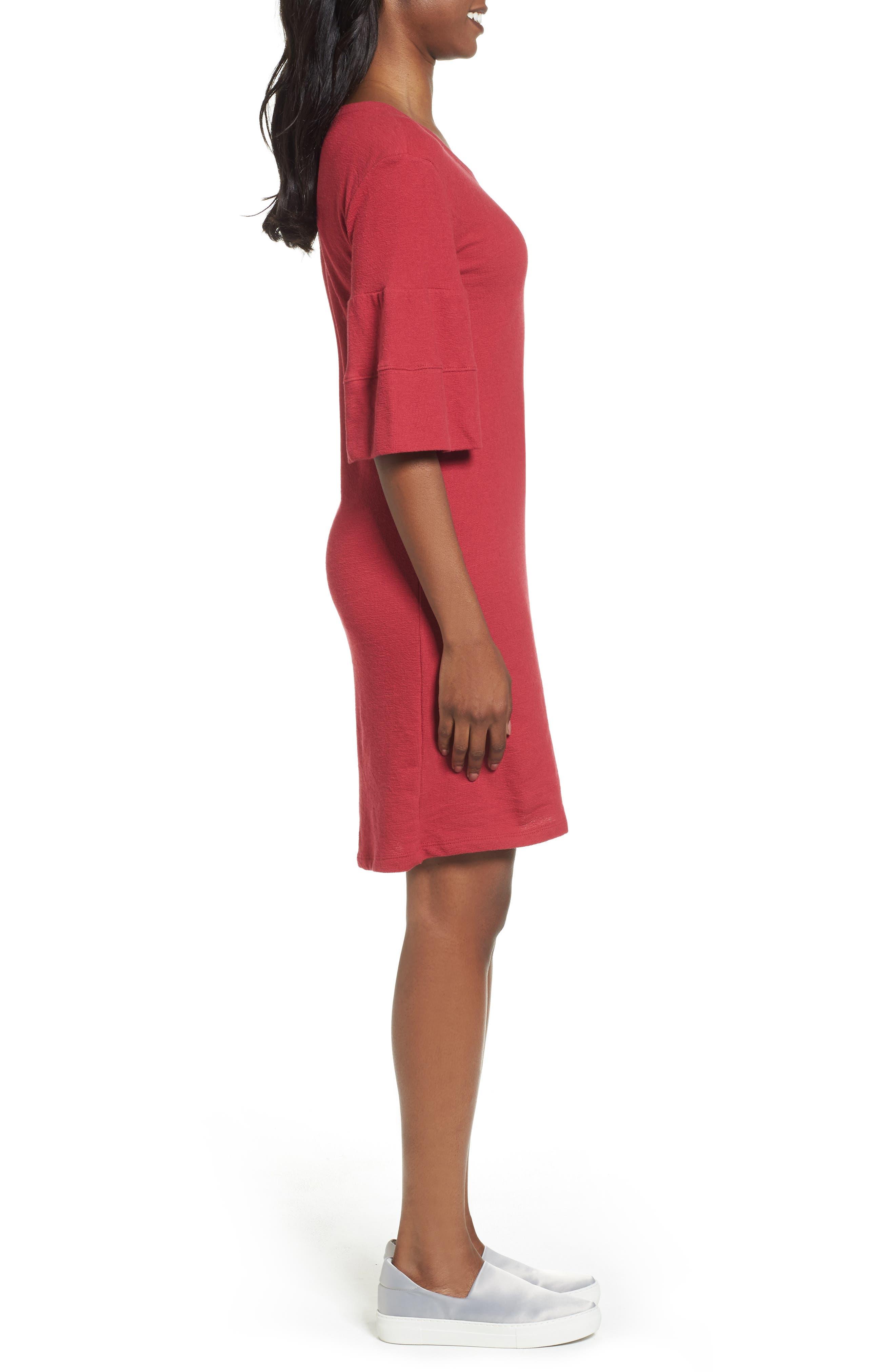 Ruffle Sleeve Knit Dress,                             Alternate thumbnail 9, color,