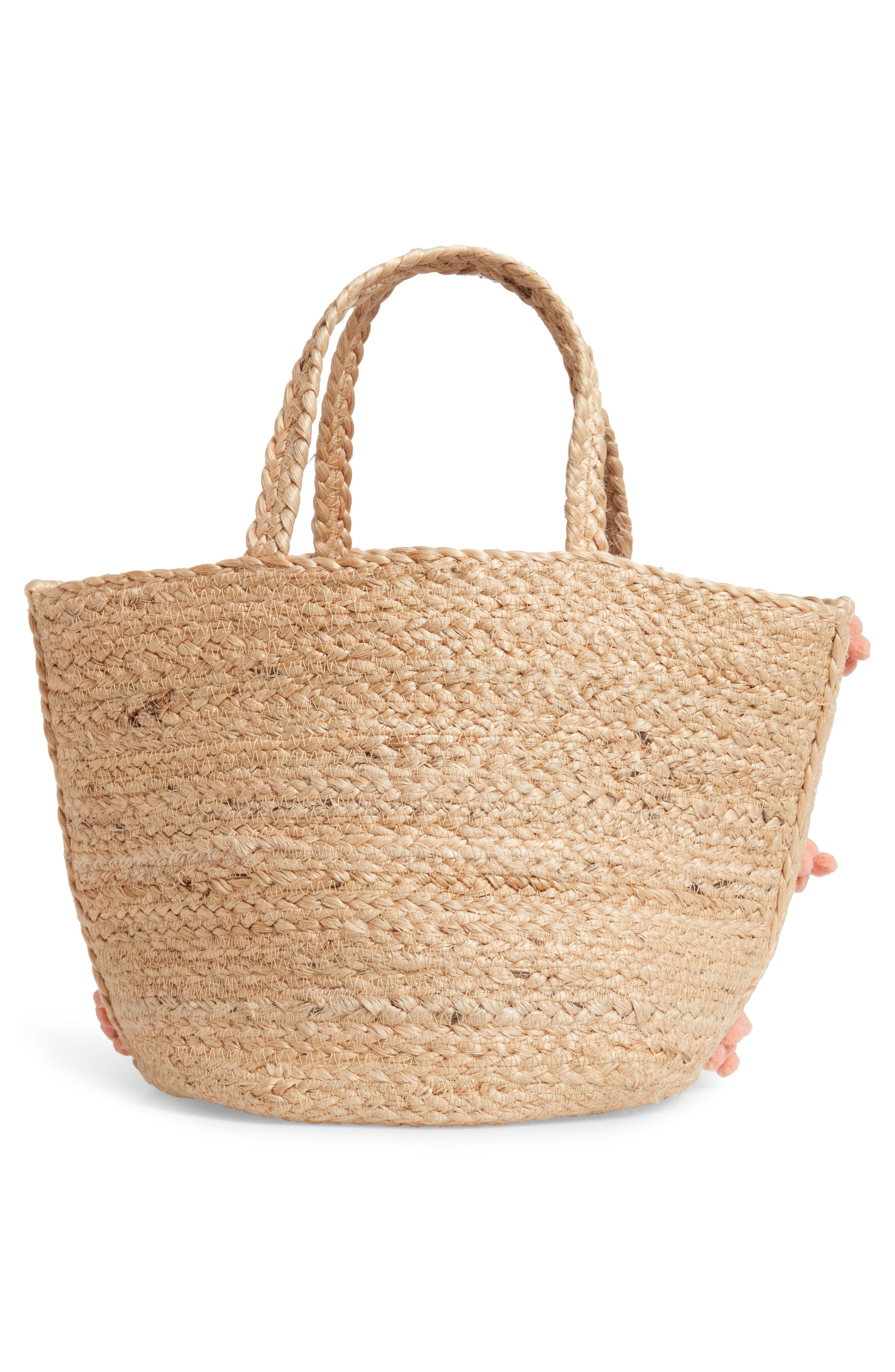 SHIRALEAH,                             Aubrey Small Pompom Jute Tote,                             Alternate thumbnail 3, color,                             650