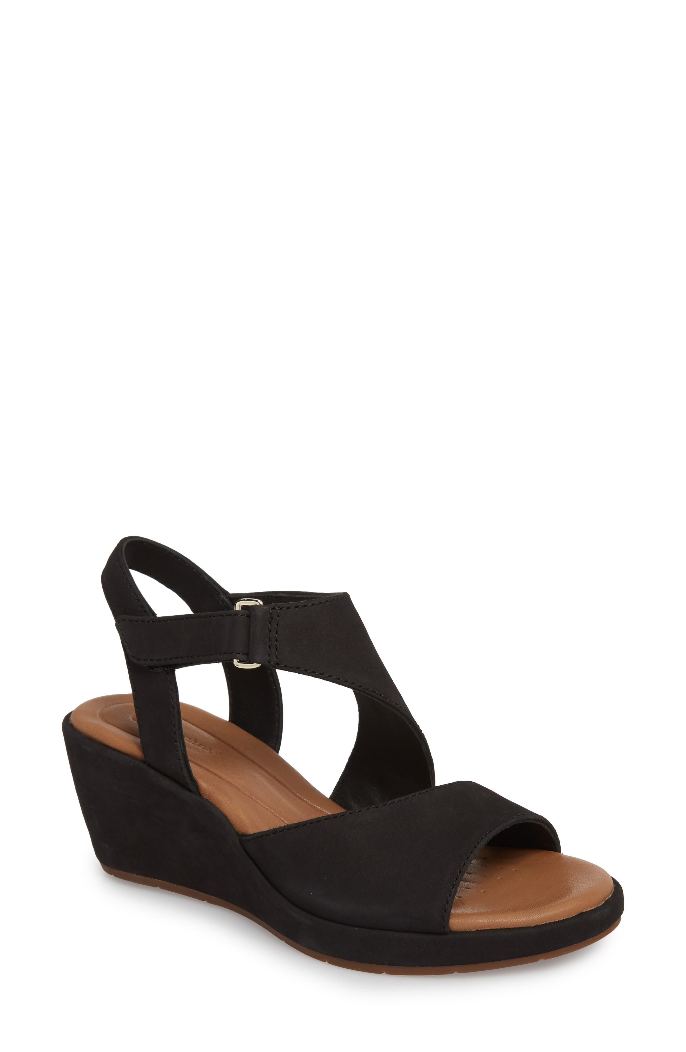 Un Plaza Wedge Sandal,                         Main,                         color, BLACK NUBUCK LEATHER