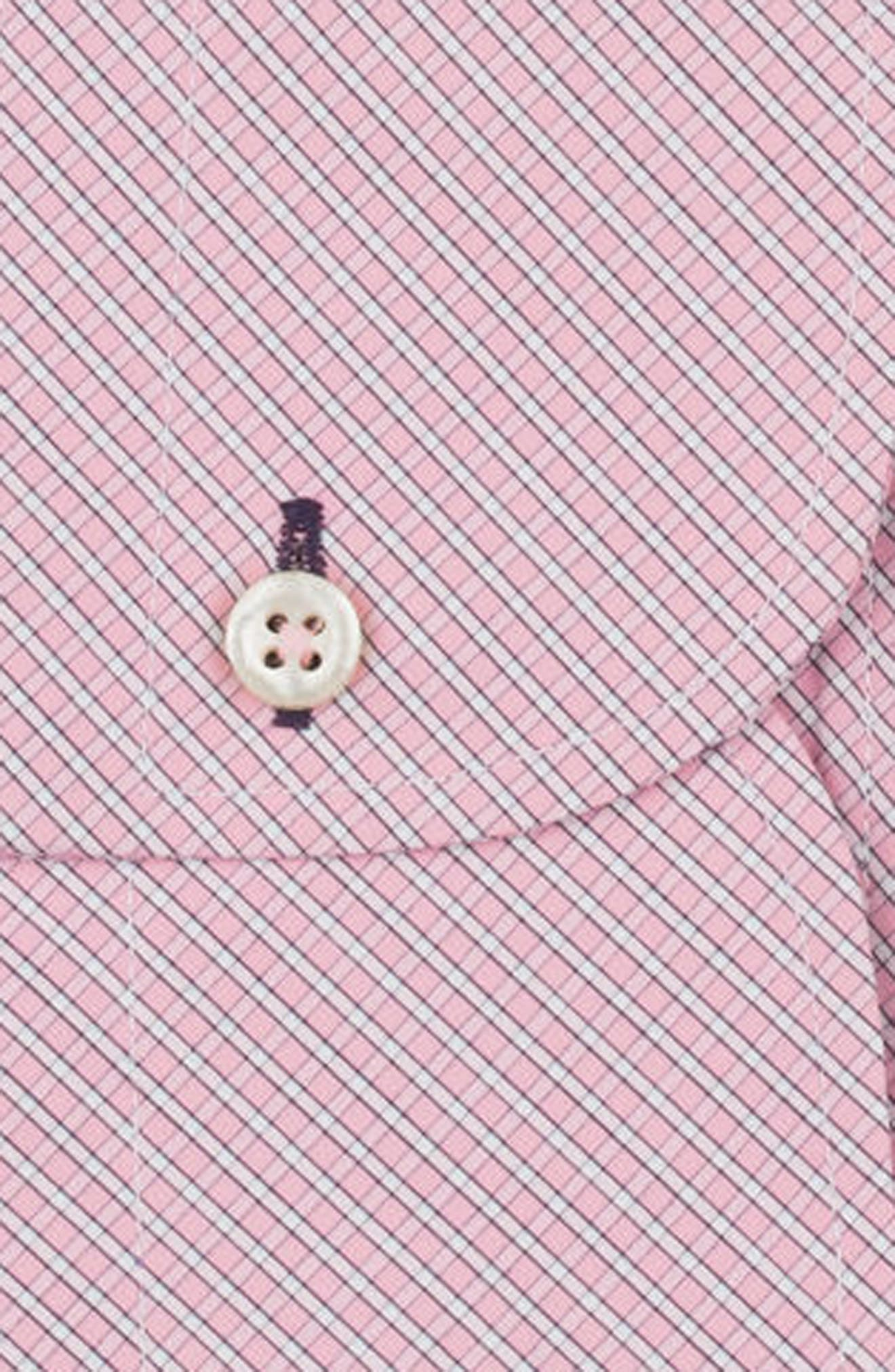 Regular Fit Check Dress Shirt,                             Alternate thumbnail 6, color,                             PINK