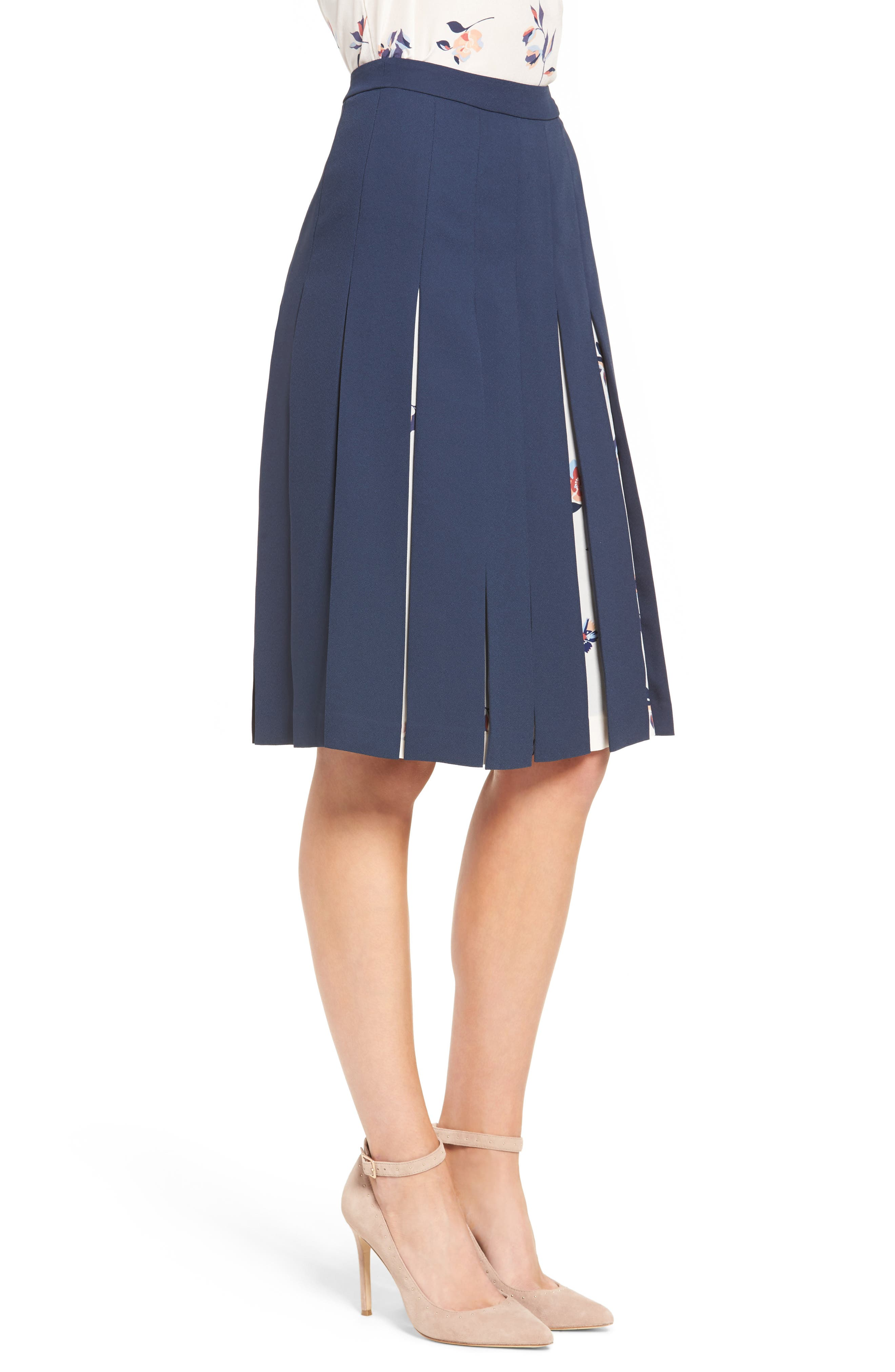Print Mix Pleated Skirt,                             Alternate thumbnail 3, color,                             410