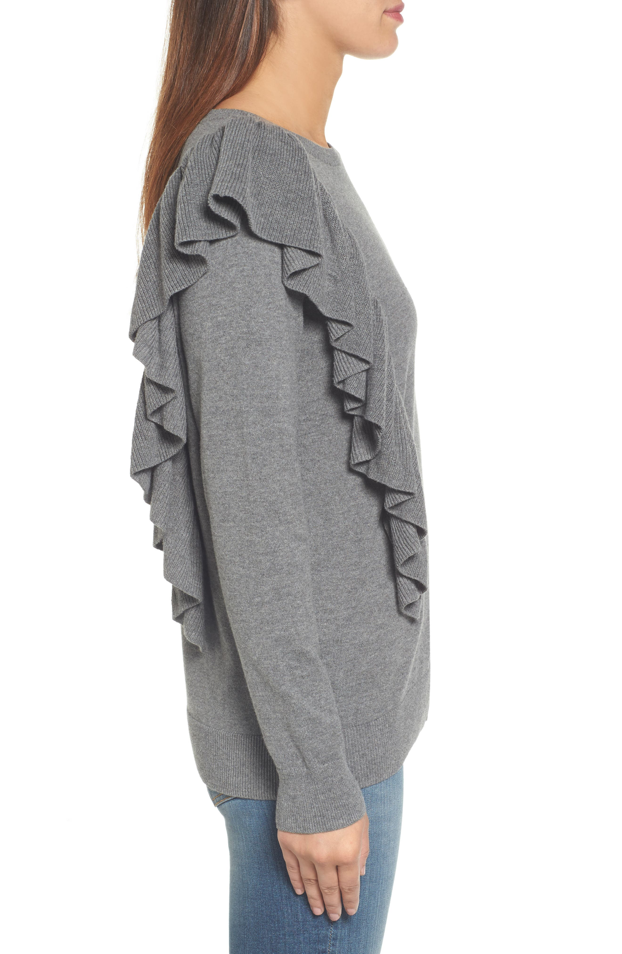 Asymmetrical Ruffle Sweater,                             Alternate thumbnail 3, color,                             030