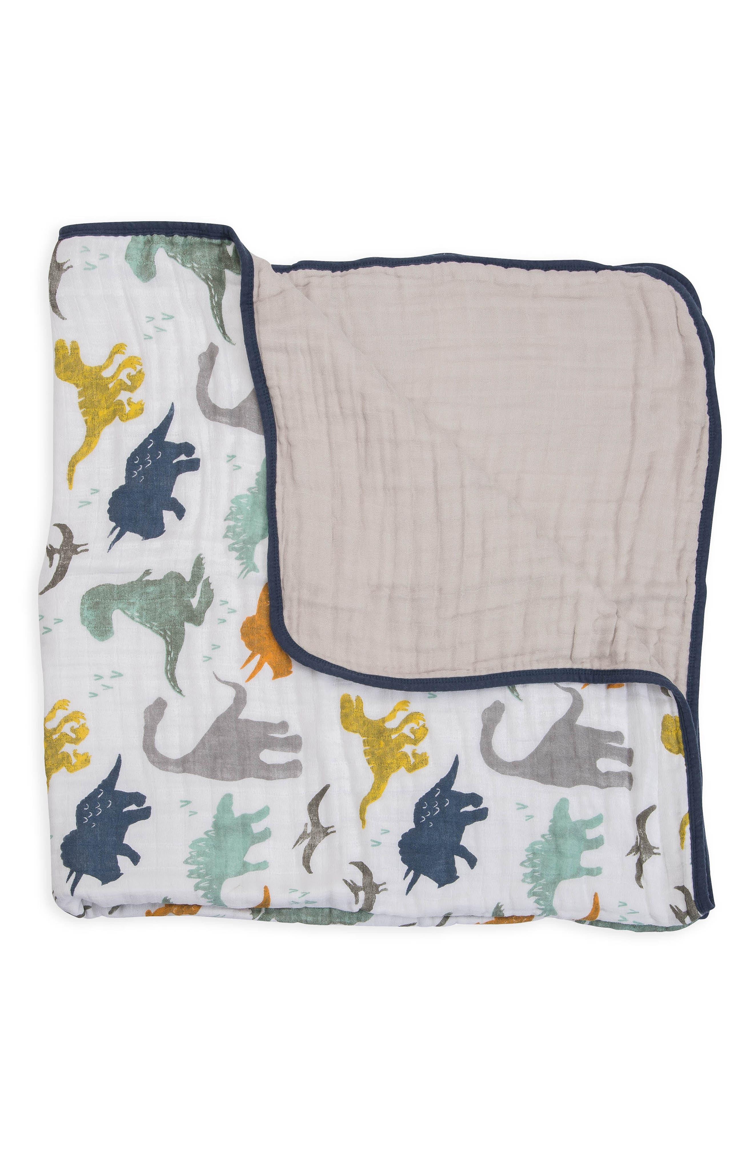 Cotton Muslin Quilt,                         Main,                         color, DINO FRIENDS