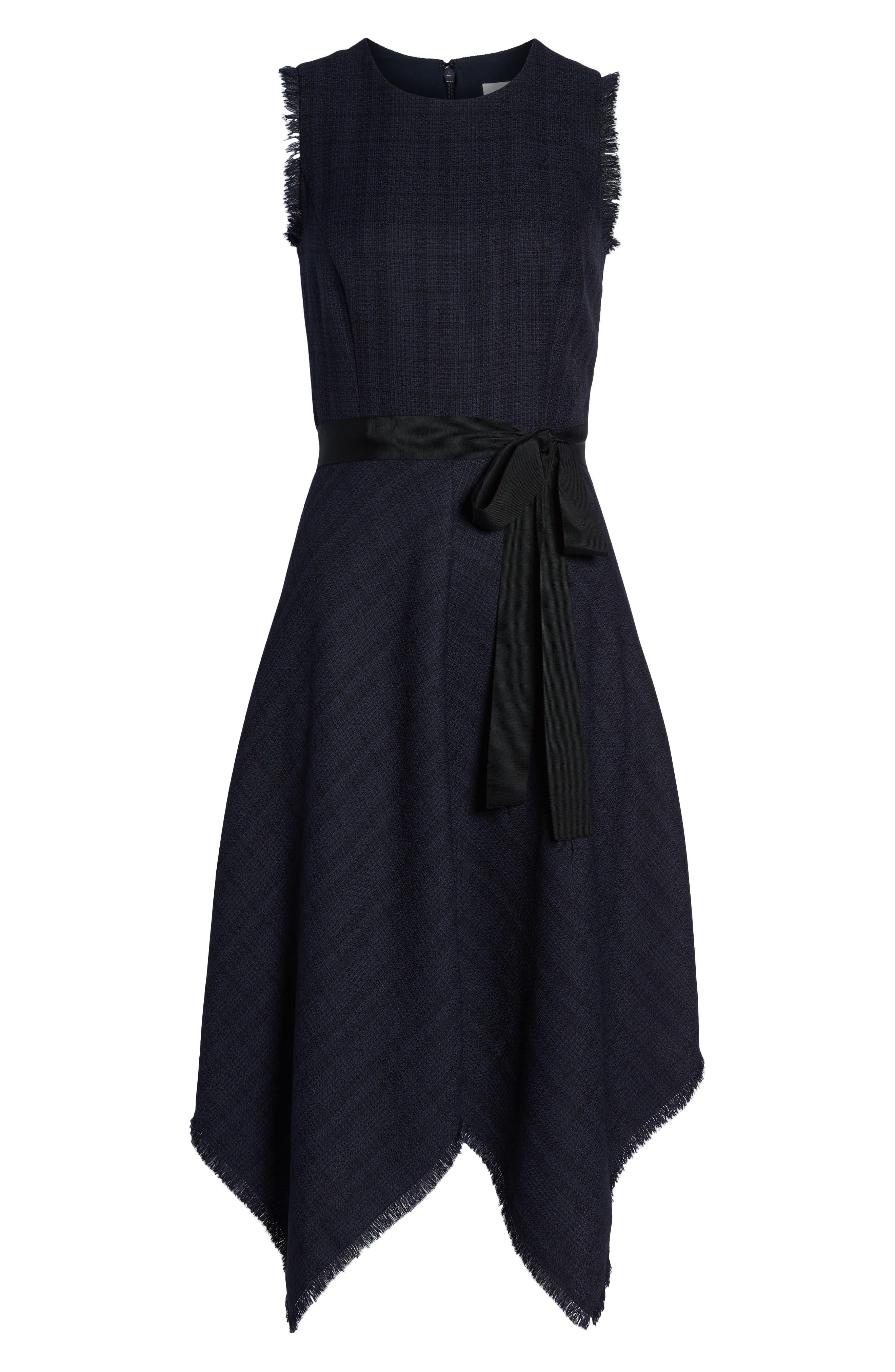 1901, Tie Waist Tweed Midi Dress, Alternate thumbnail 7, color, 410