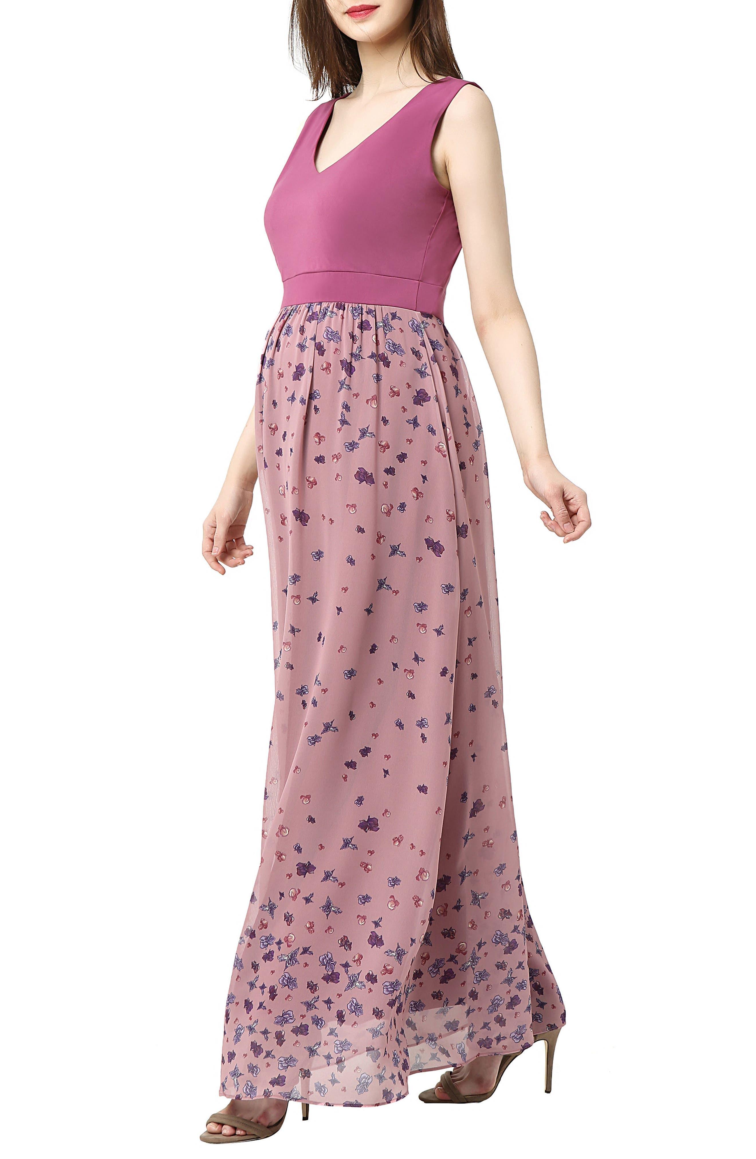 Armanda Maternity Maxi Dress,                             Alternate thumbnail 3, color,                             ROSE PINK