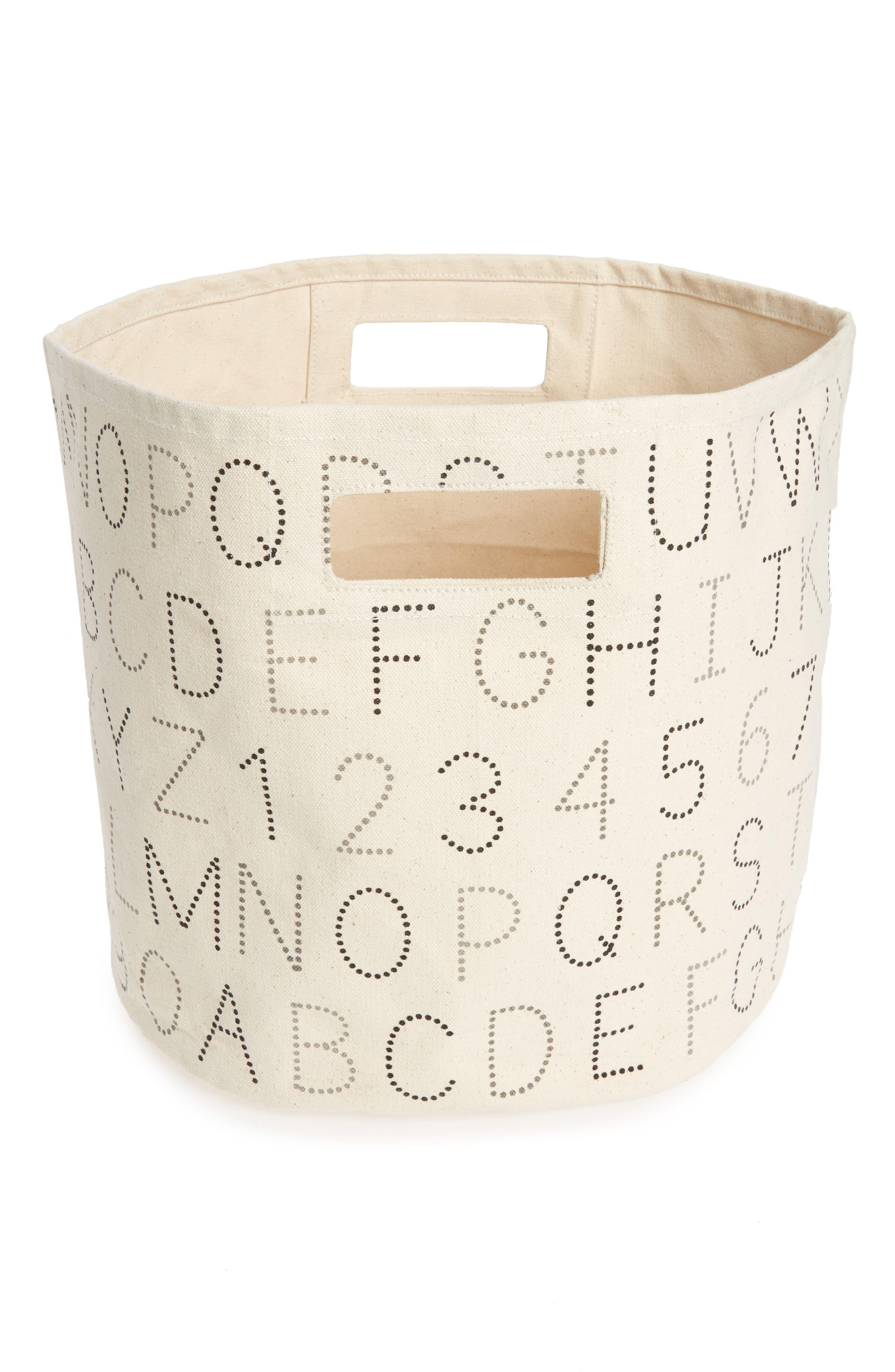 Alphabet Print Canvas Bin,                         Main,                         color, 020