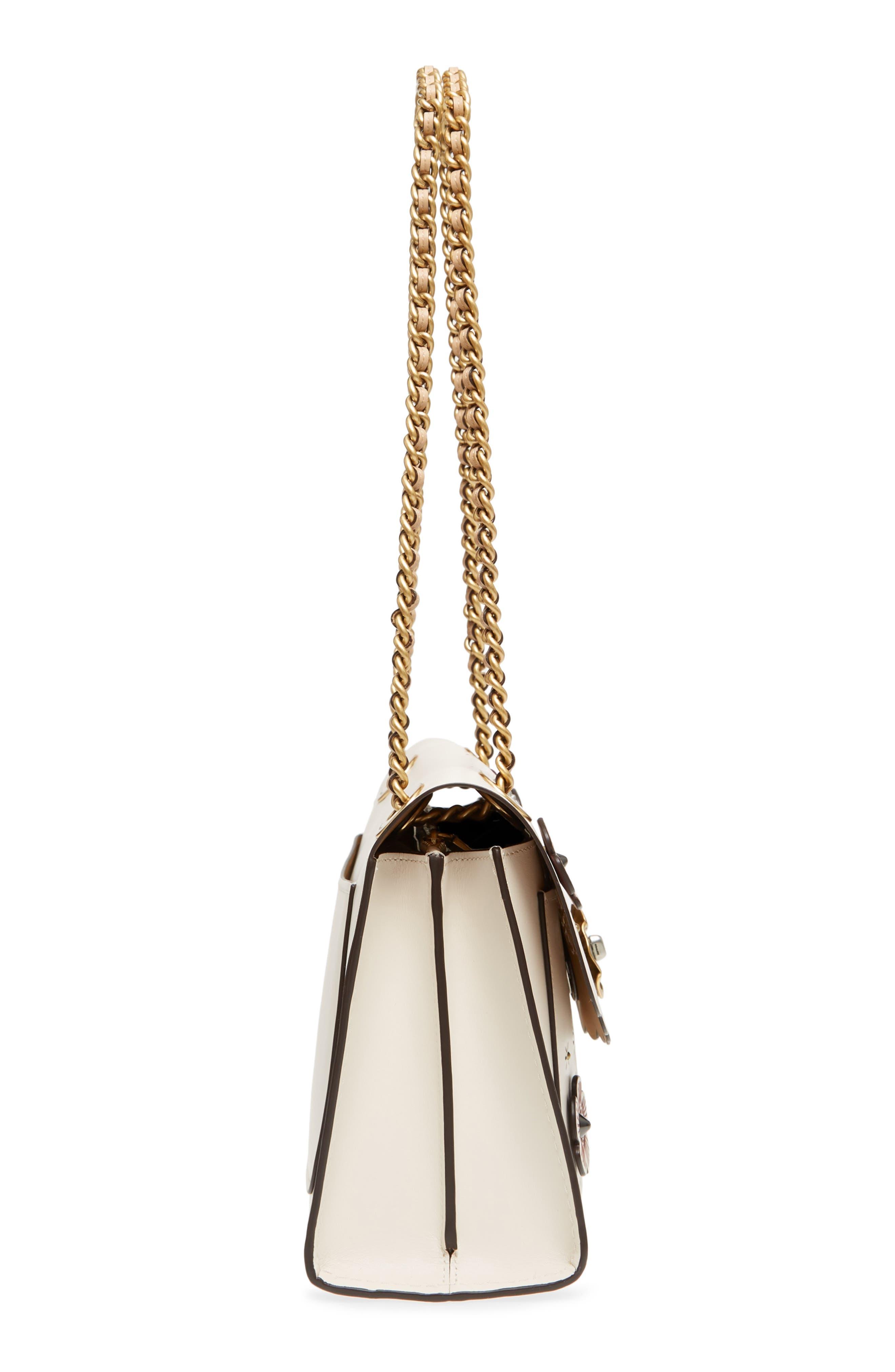 Parker Floral Embellished Leather Shoulder Bag,                             Alternate thumbnail 5, color,