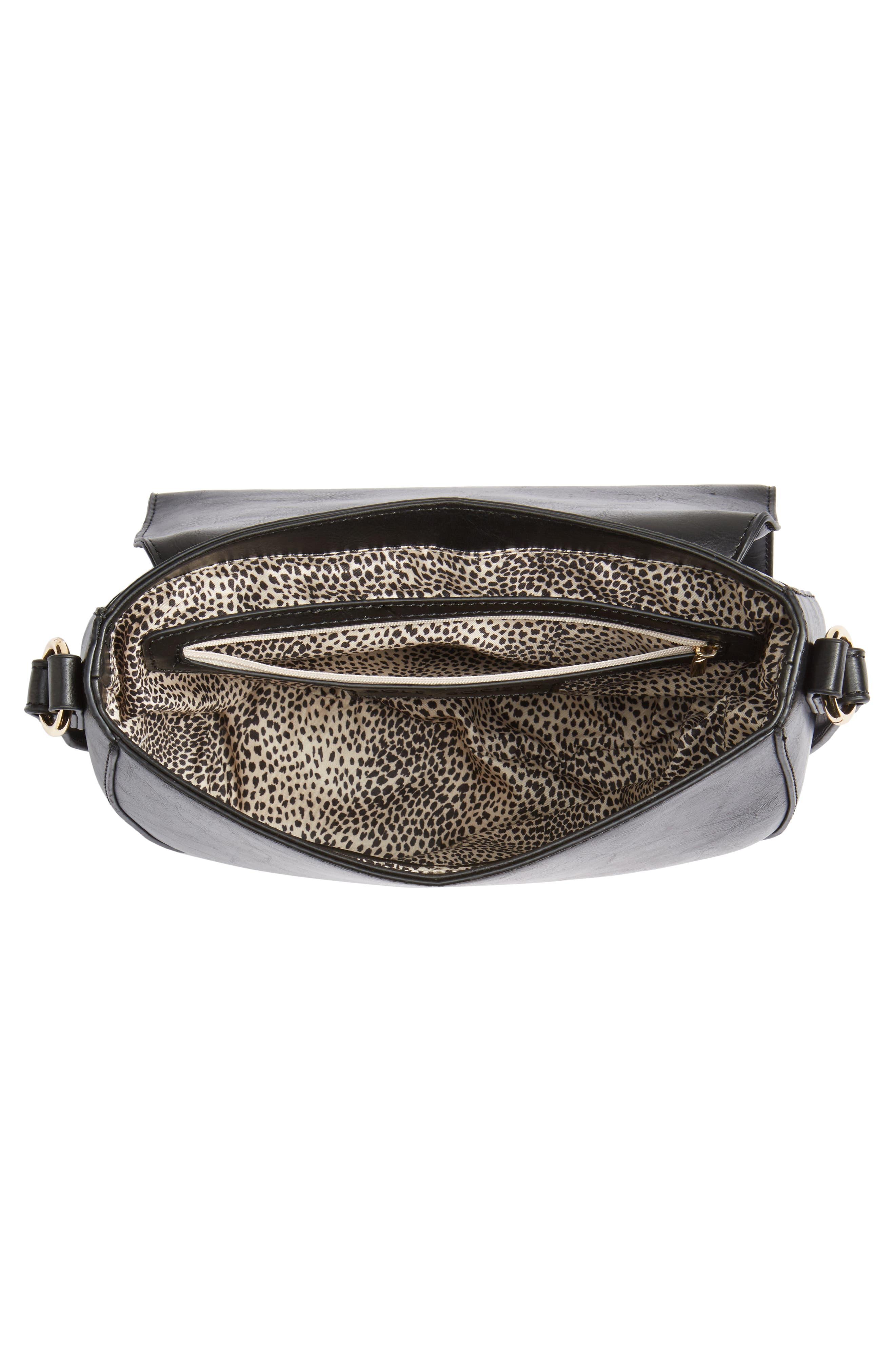 Piri Faux Leather Saddle Bag,                             Alternate thumbnail 4, color,                             001