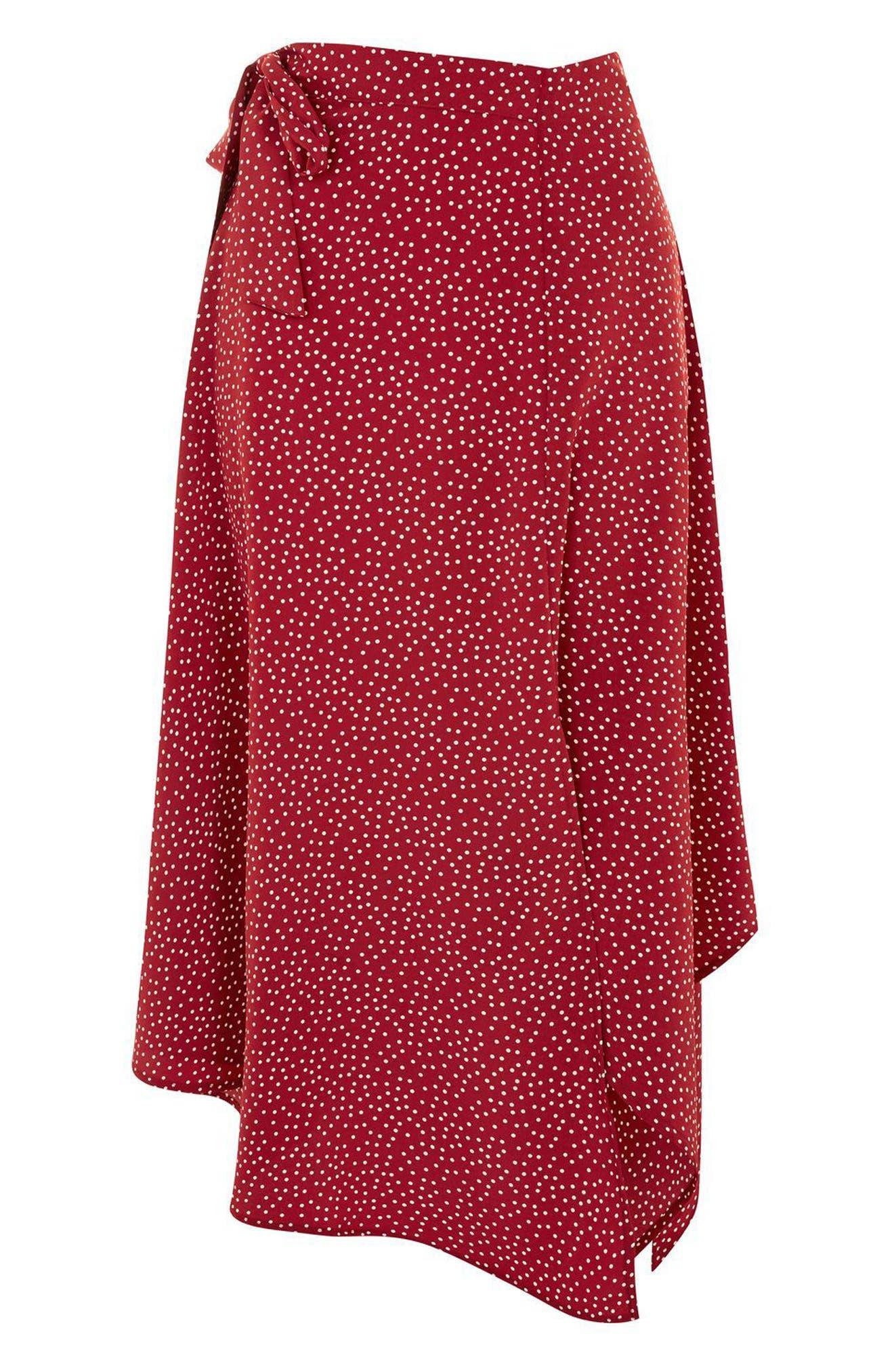 Polka Dot Handkerchief Hem Skirt,                             Alternate thumbnail 3, color,