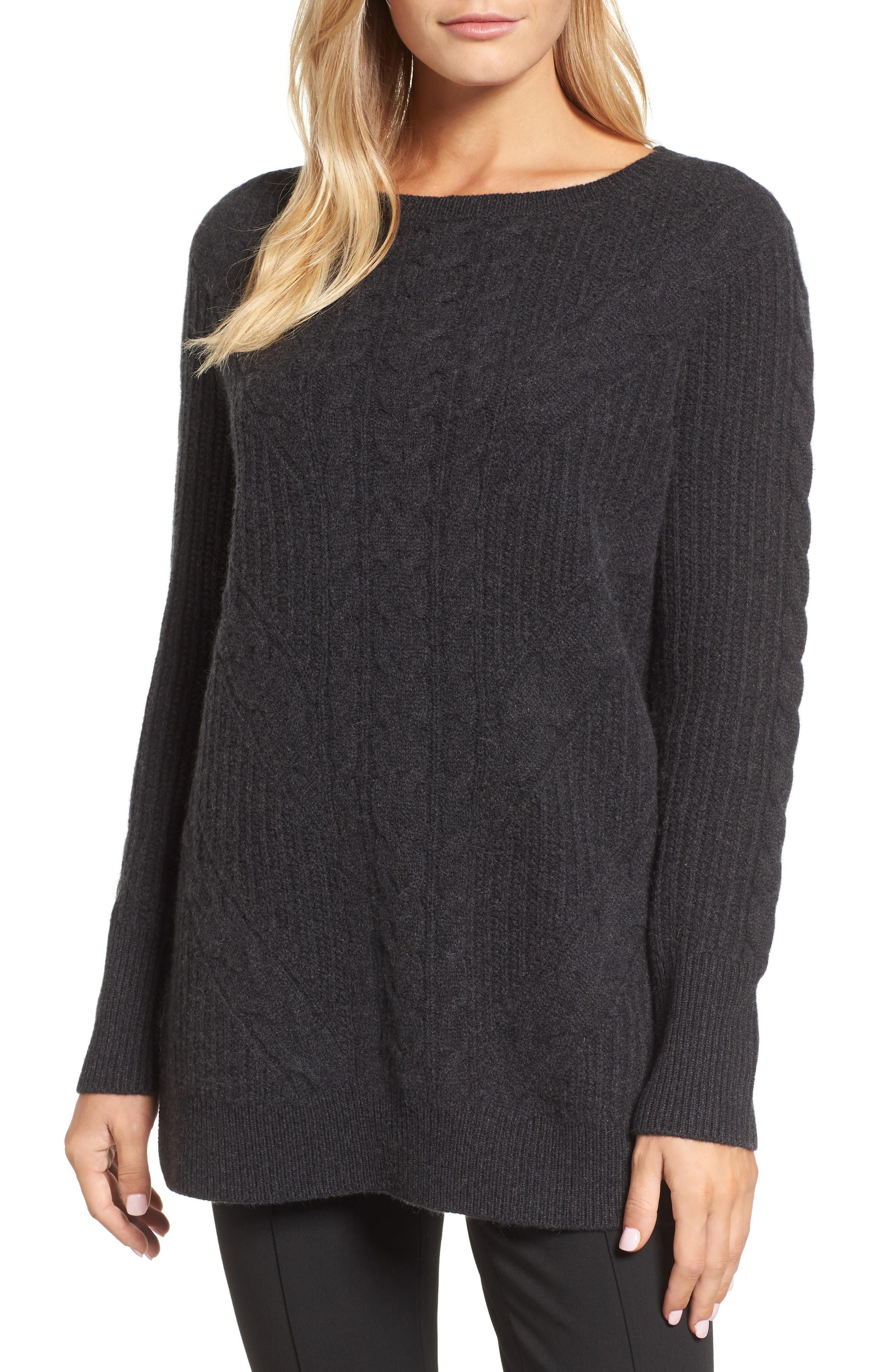 Cashmere Cable Tunic Sweater,                         Main,                         color, 021