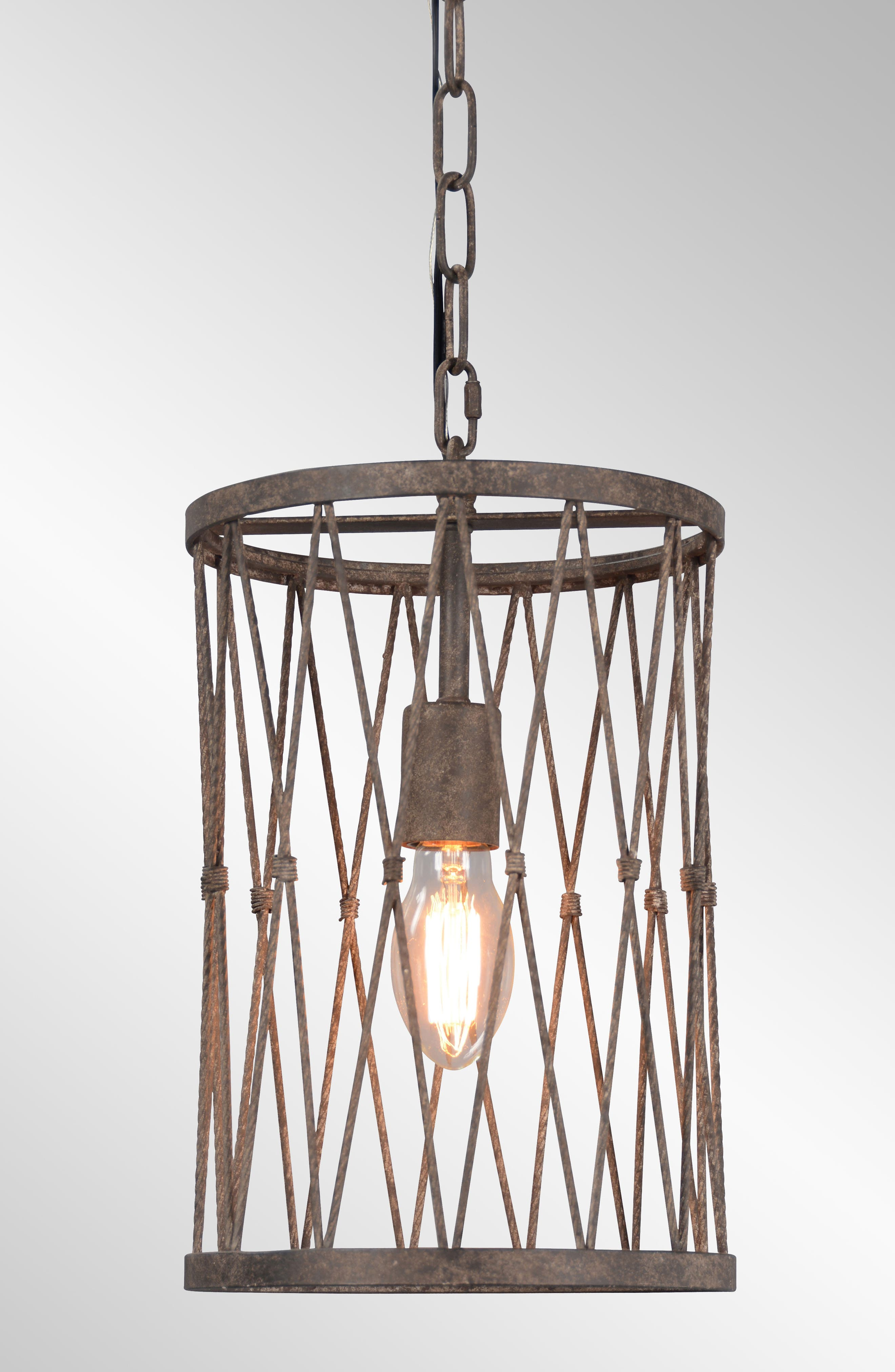 Classic Home Braylon Cage Pendant Lamp Size Large  Brown