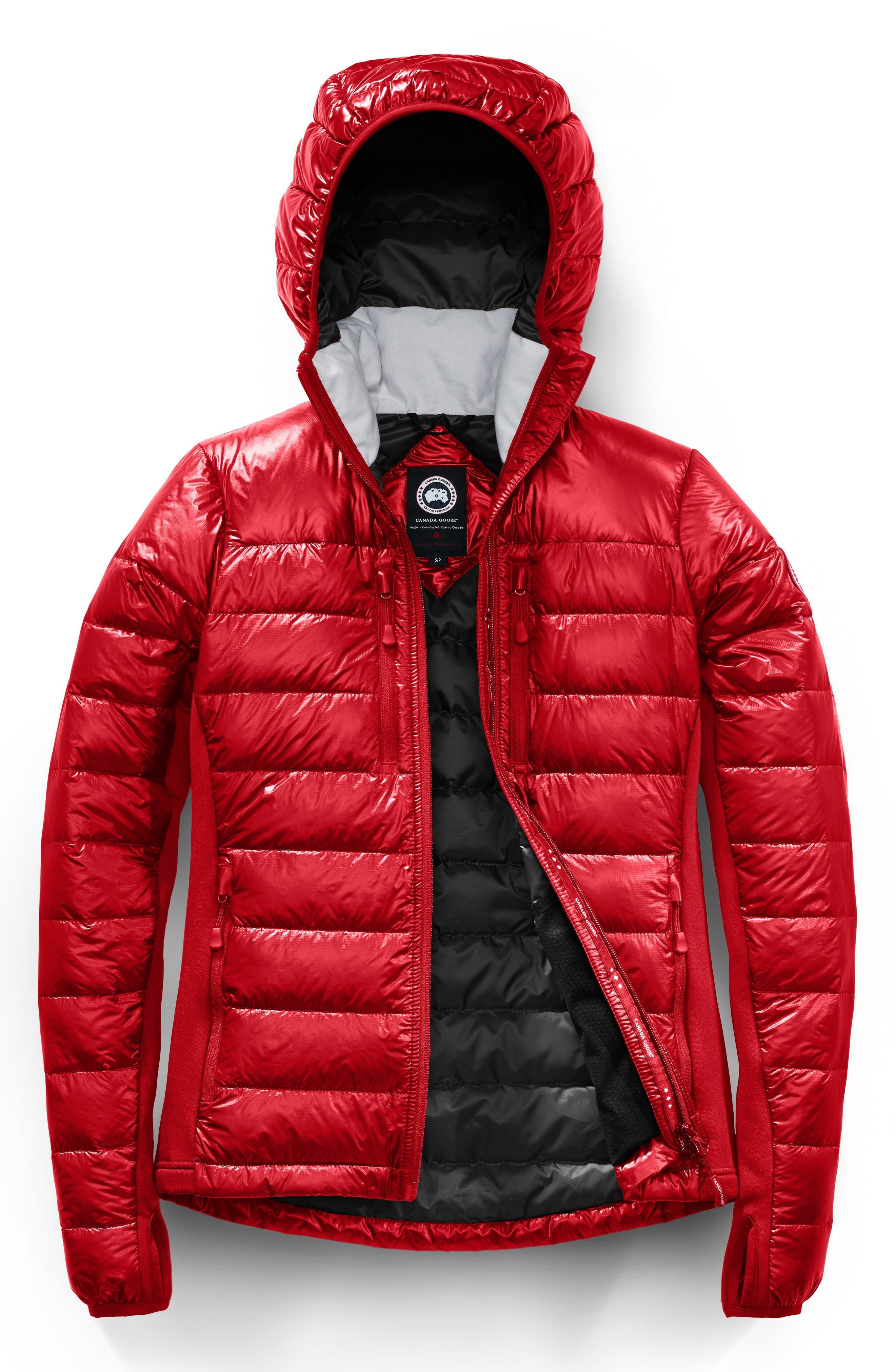 'Hybridge Lite' Slim Fit Hooded Packable Down Jacket,                             Alternate thumbnail 4, color,                             S RED/ L BLACK
