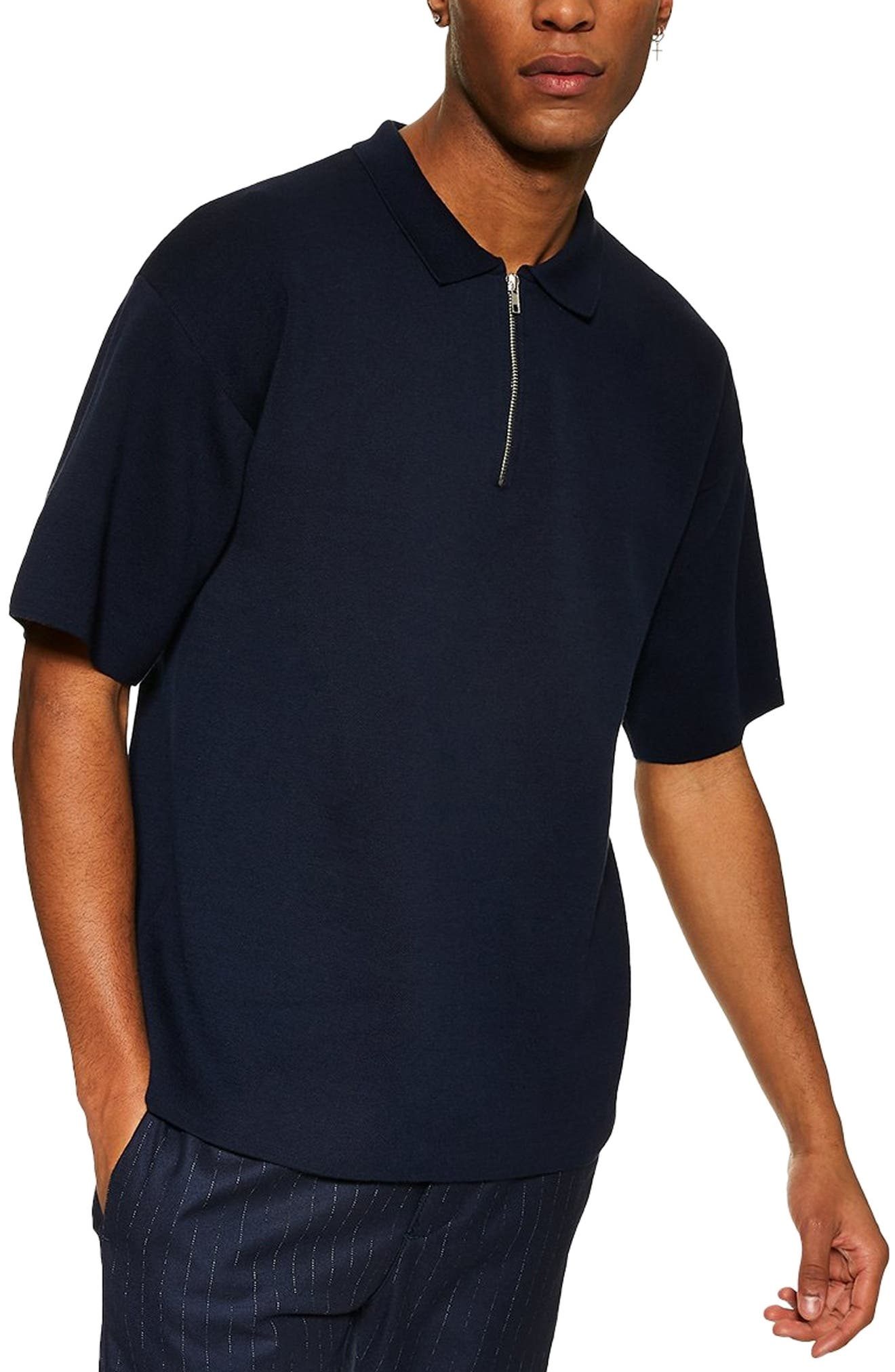 Topman Sweater Knit Polo, Blue
