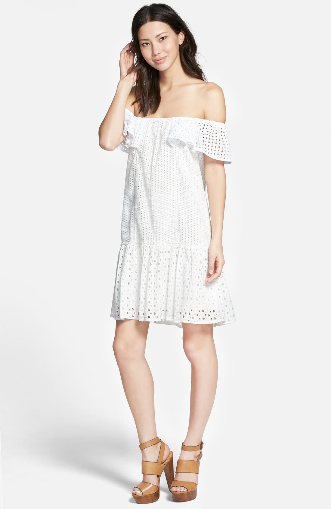 REBECCA MINKOFF 'Celestine' Off the Shoulder Dress, Main, color, 100