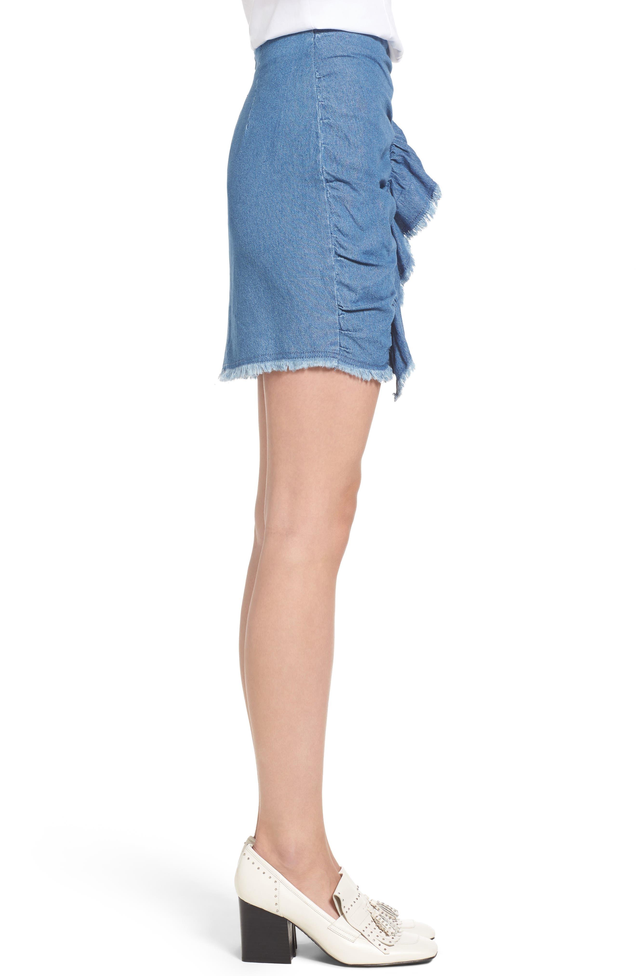 Ruffle Denim Miniskirt,                             Alternate thumbnail 3, color,                             459