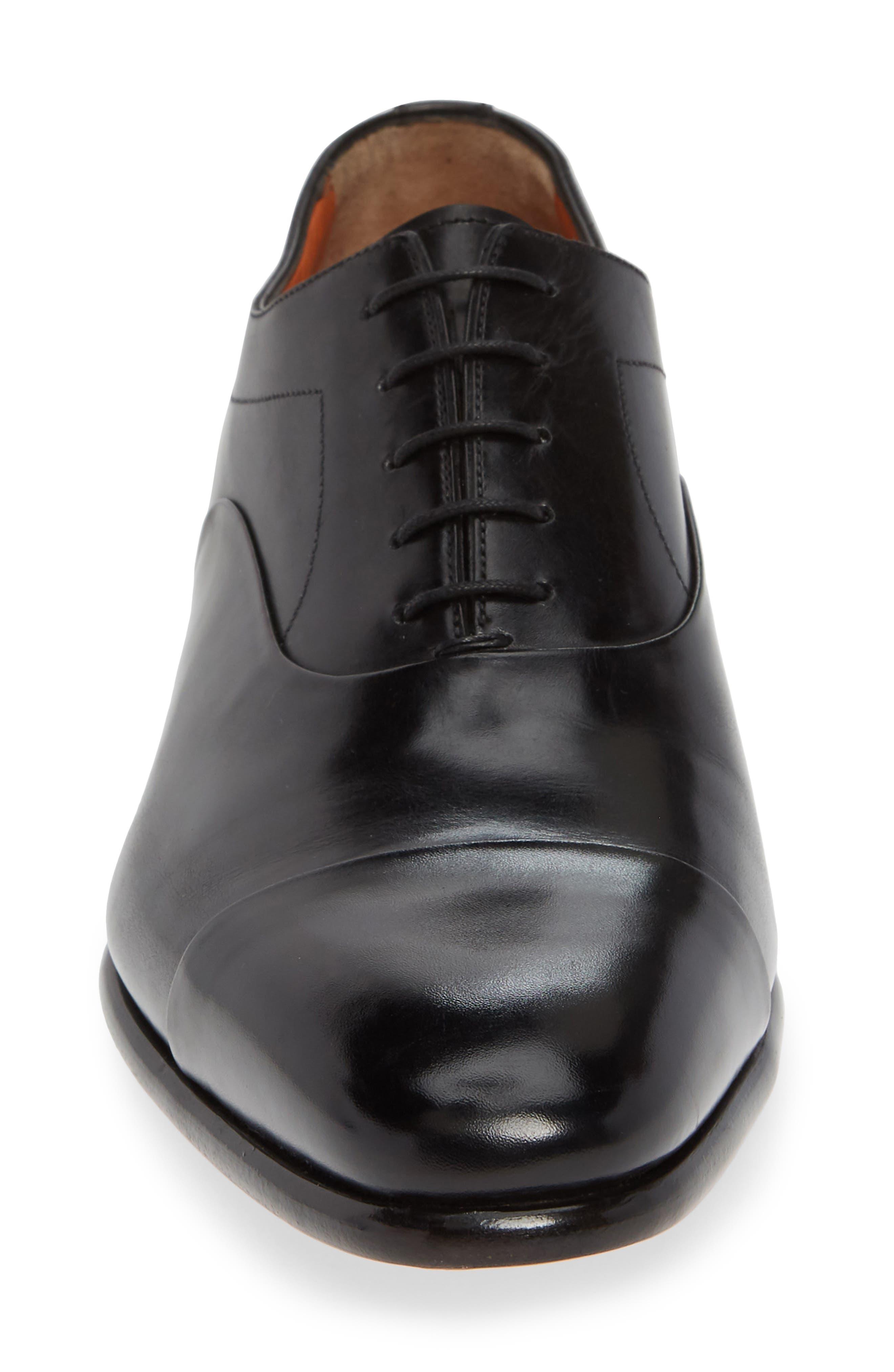 'Elon' Cap Toe Oxford,                             Alternate thumbnail 4, color,                             BLACK