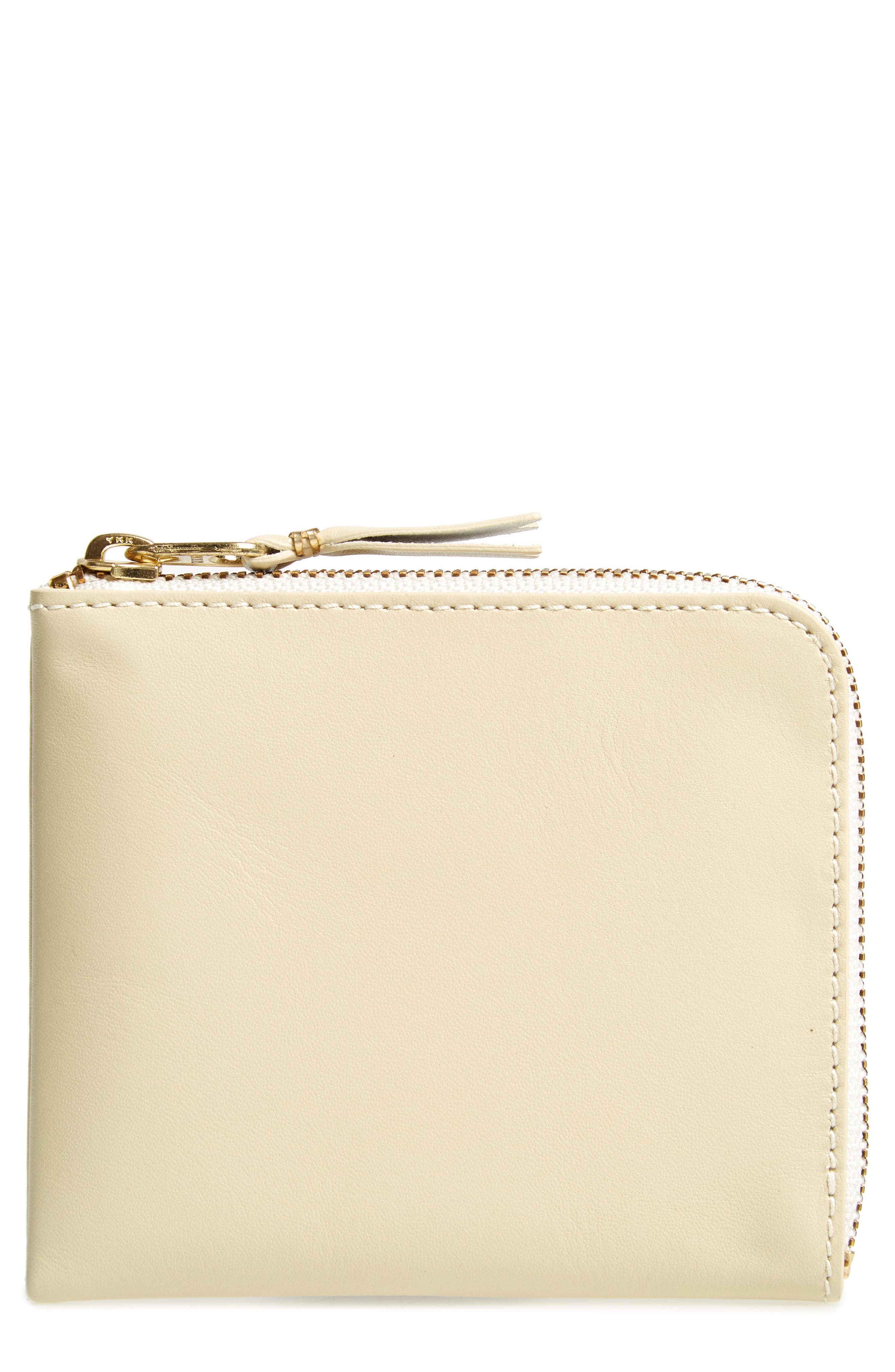 Classic Leather Line Wallet,                         Main,                         color, OFF WHITE