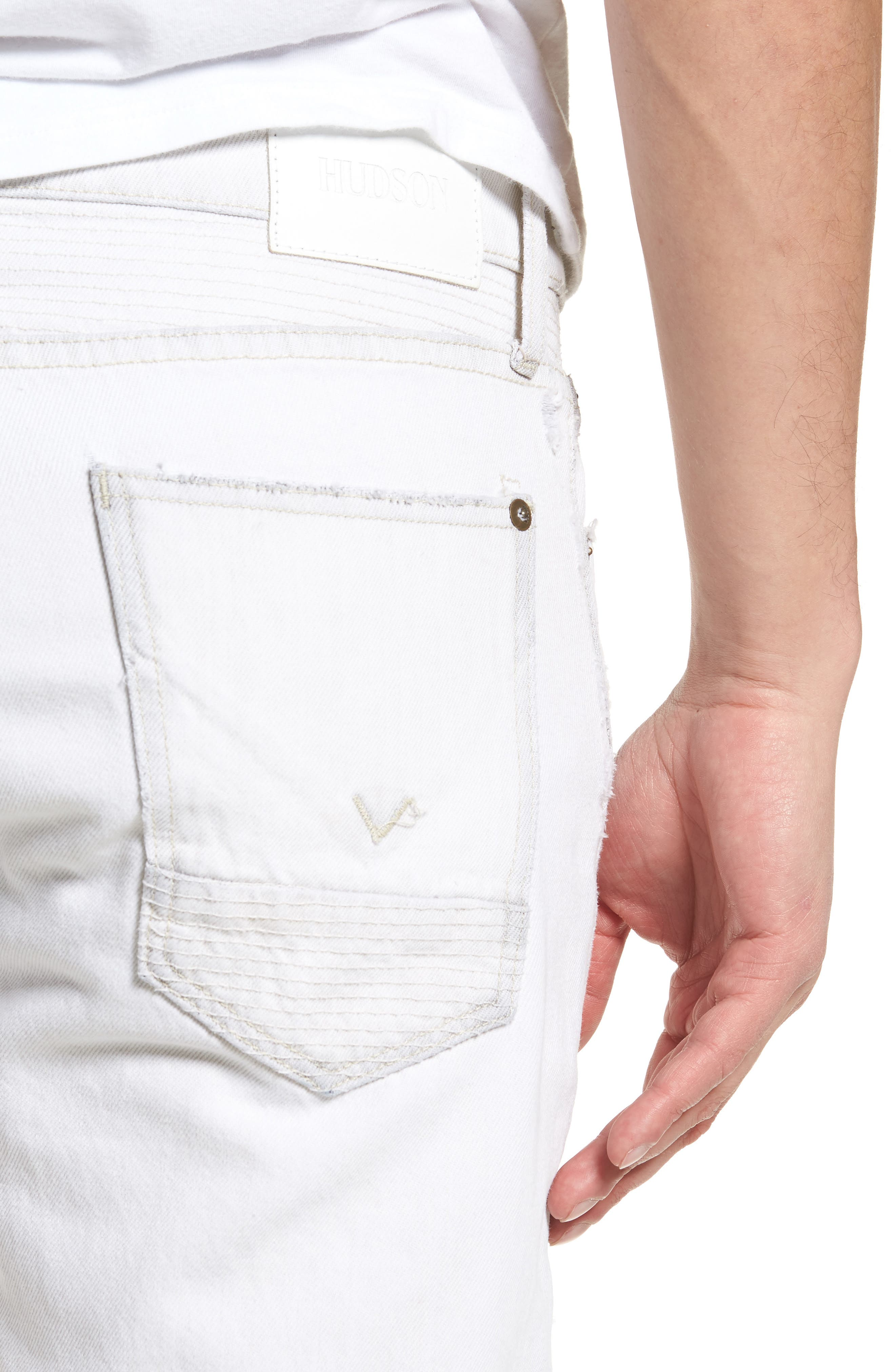 Blinder Biker Skinny Fit Moto Jeans,                             Alternate thumbnail 4, color,                             EXTRACTED WHITE