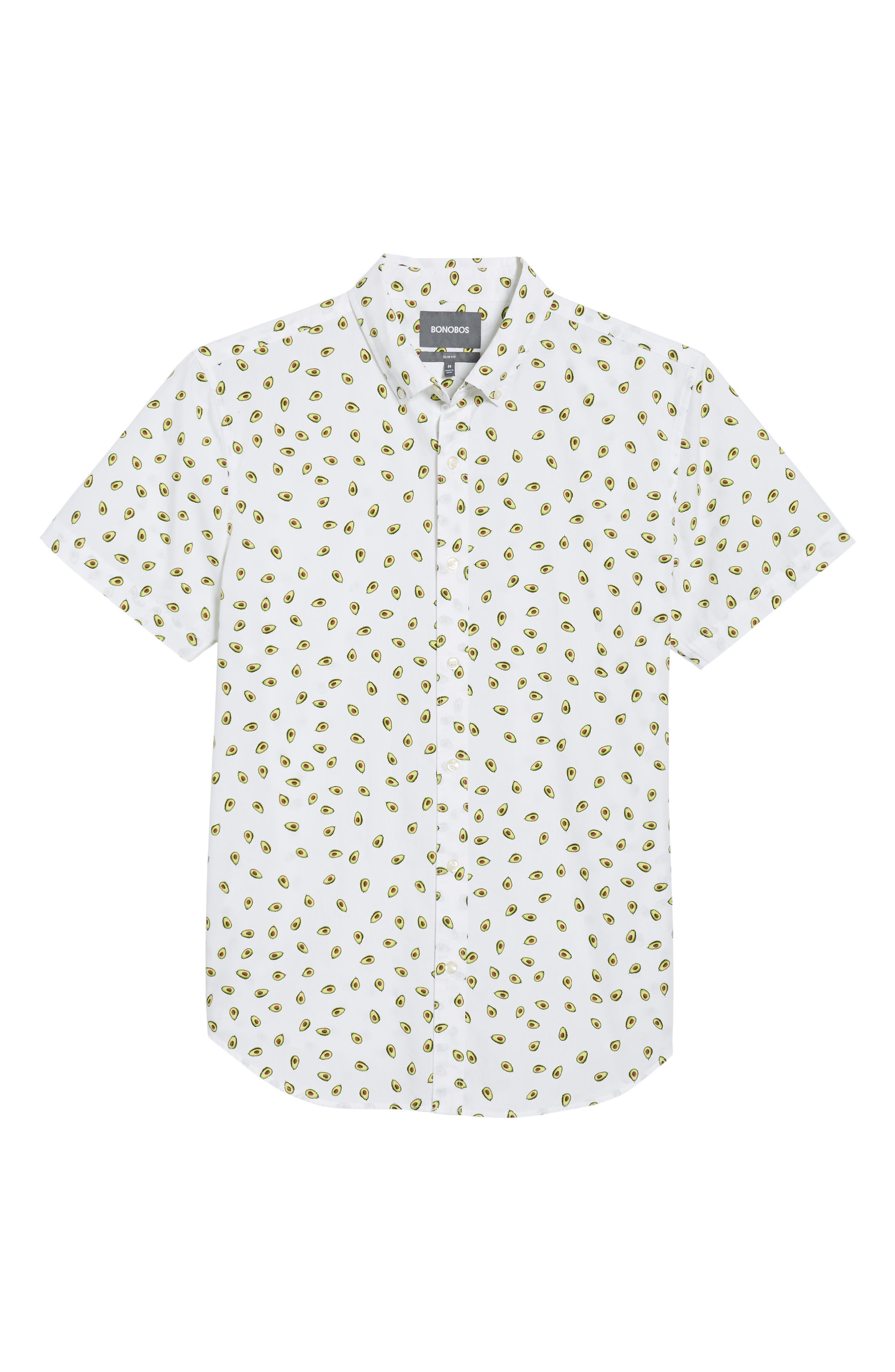 Slim Fit Print Short Sleeve Sport Shirt,                             Alternate thumbnail 6, color,                             100